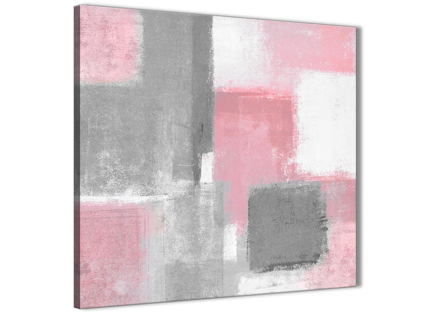 1s334s 49cm Square Blush Pink Grey Abstract Painting Canvas Wall Art Print