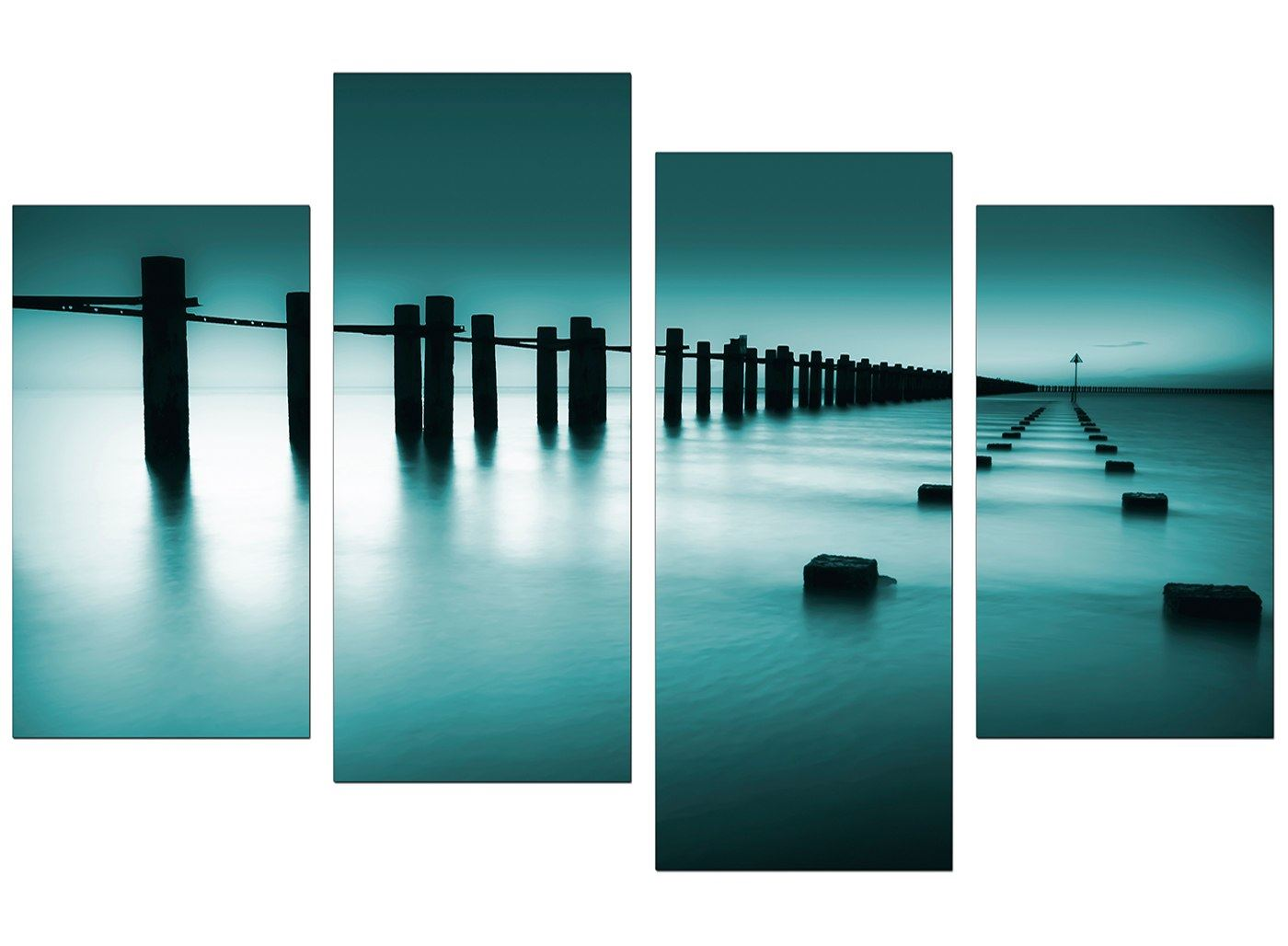 Large Teal Bedroom Landscape Canvas Wall Art Pictures ...