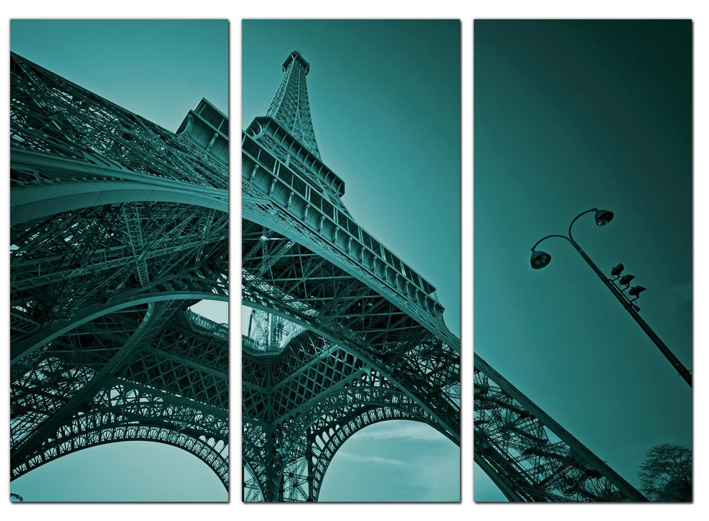 Five Teal Canvas Pictures Paris France Blue Green Wall Art Print 5014