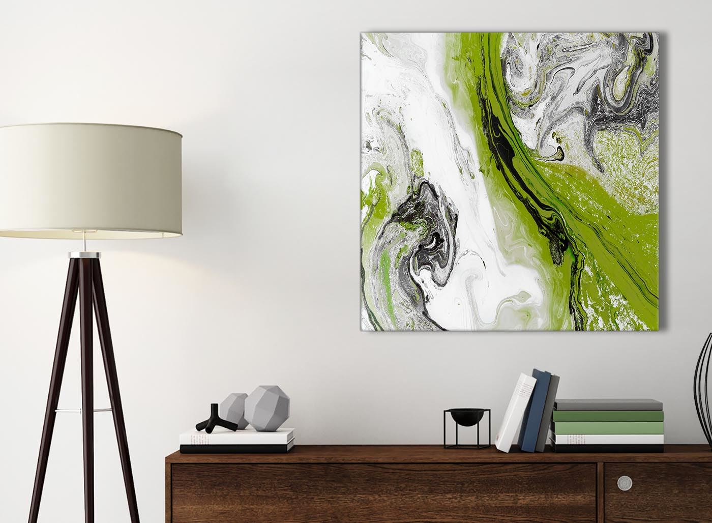 Lime Green and Grey Swirl Bedroom Canvas Pictures ...