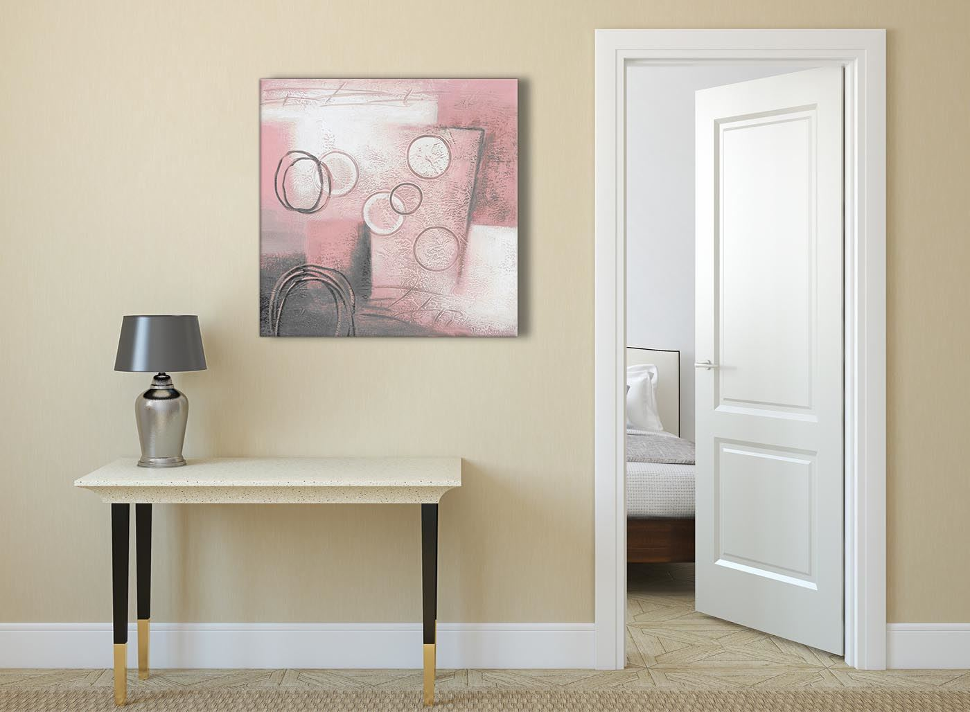 Blush Pink Grey Painting Abstract Dining Room Canvas