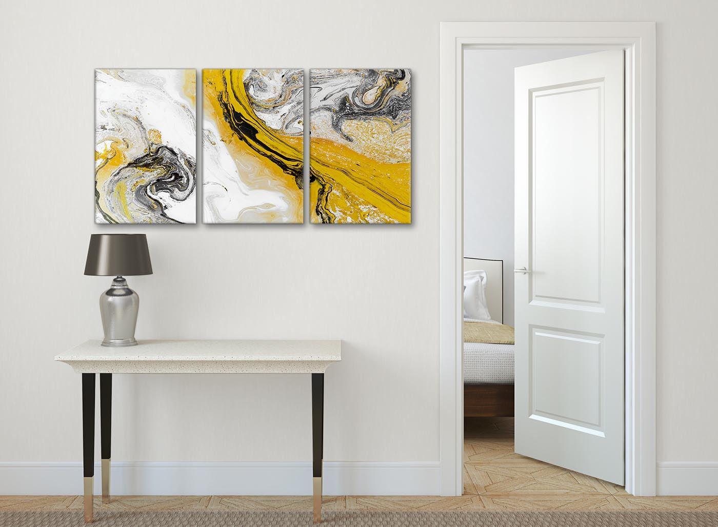 Mustard Yellow And Grey Swirl Bedroom Canvas Wall Art Abstract Print Ebay