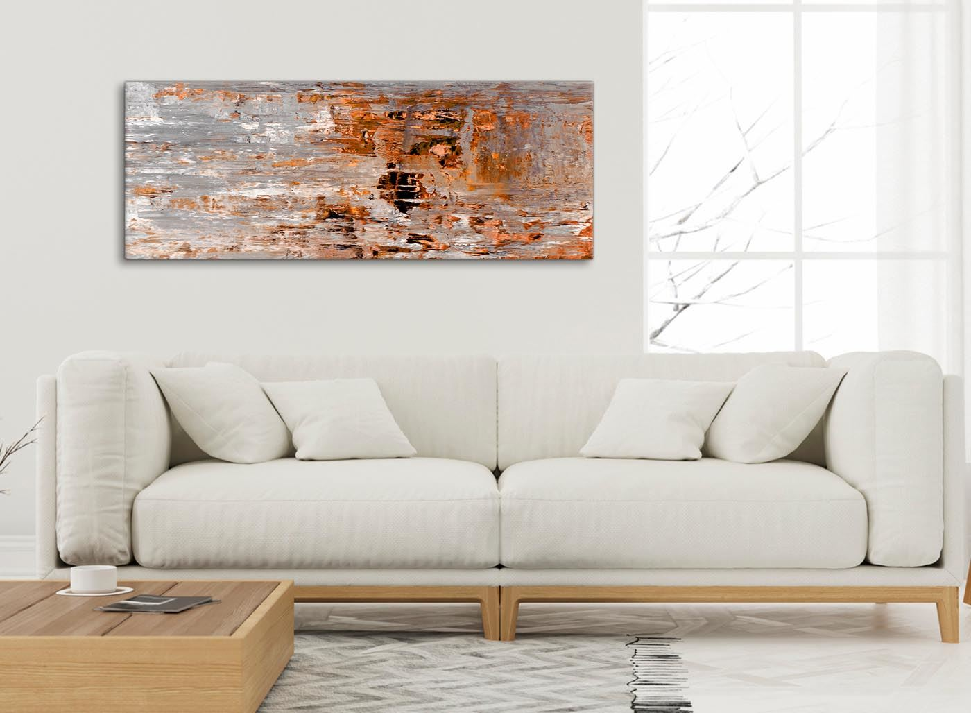 Burnt Orange Grey Painting Bedroom Canvas Accessories - Abstract ...