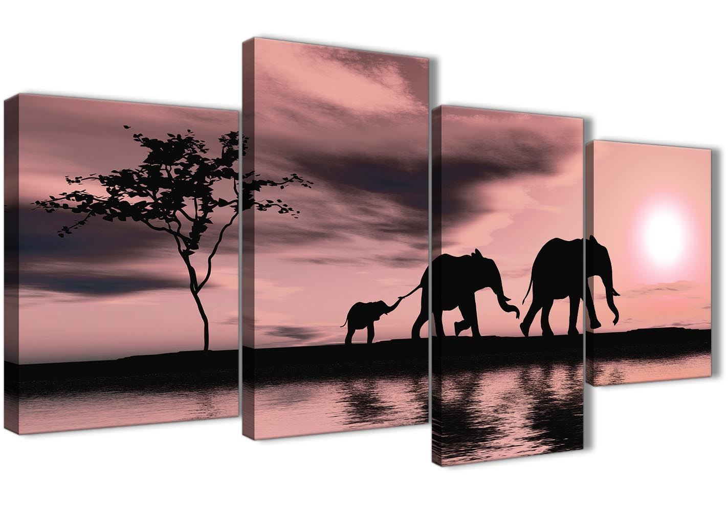 Blush Pink African Sunset Elephants Canvas Art Print – 4 Set – 130cm Wide – 4361