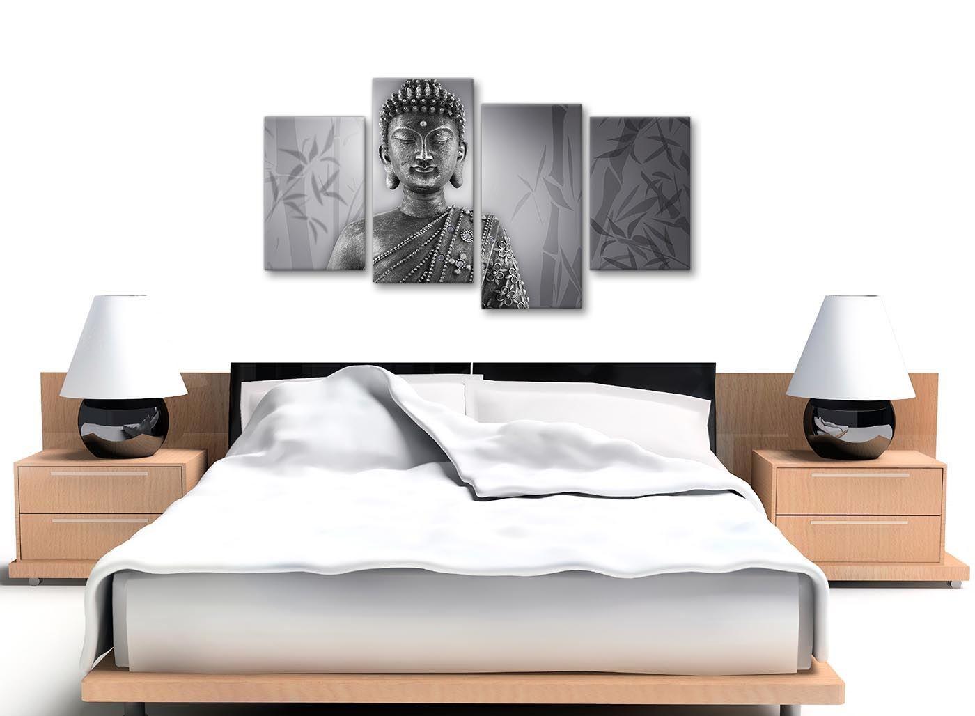 4373-130 Cm Lienzo Grande Negro Blanco Buda Dormitorio Decoración de fotos