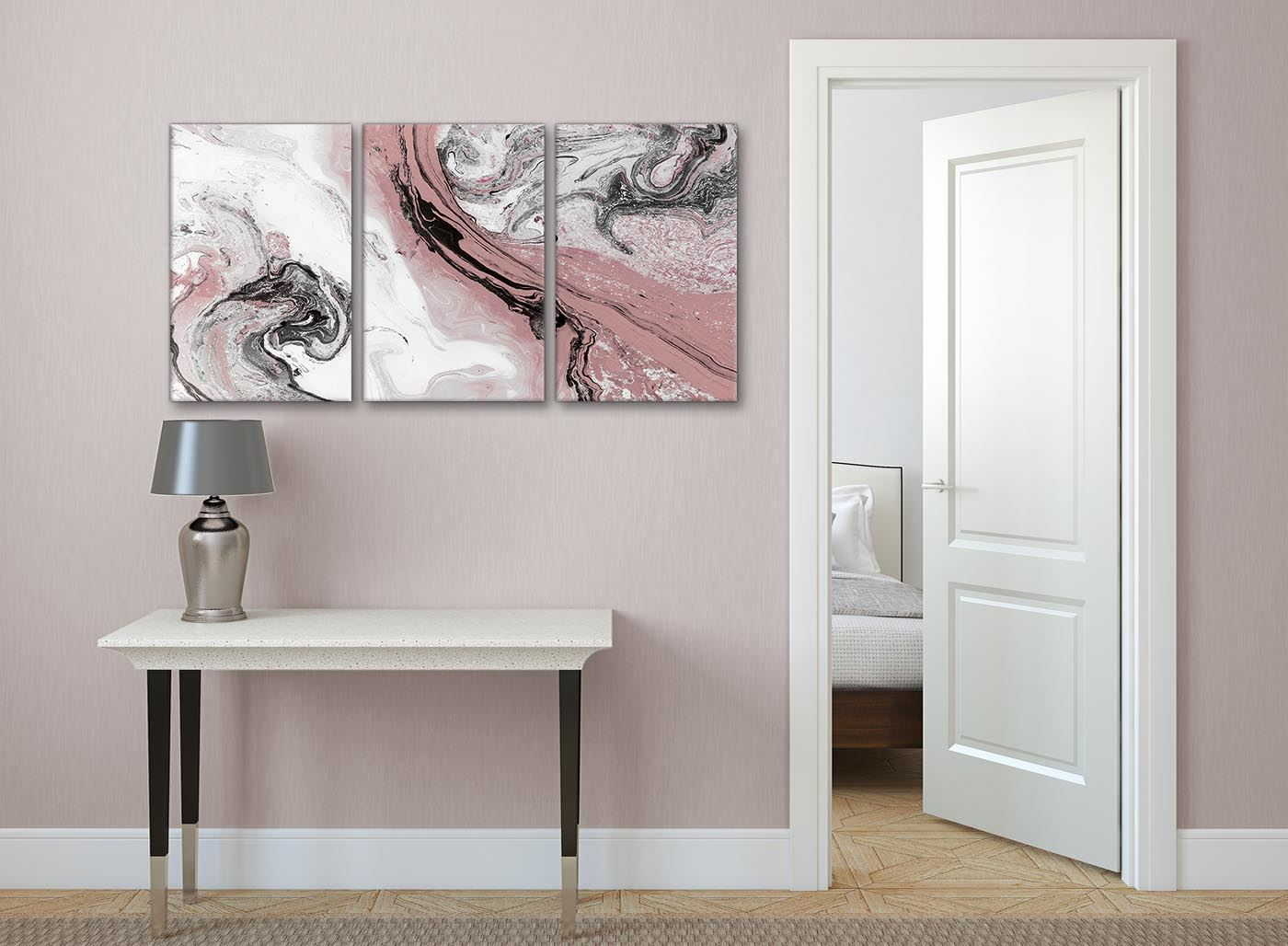Details about Blush Pink and Grey Living Room Canvas Wall Art Accessories -  Abstract Print
