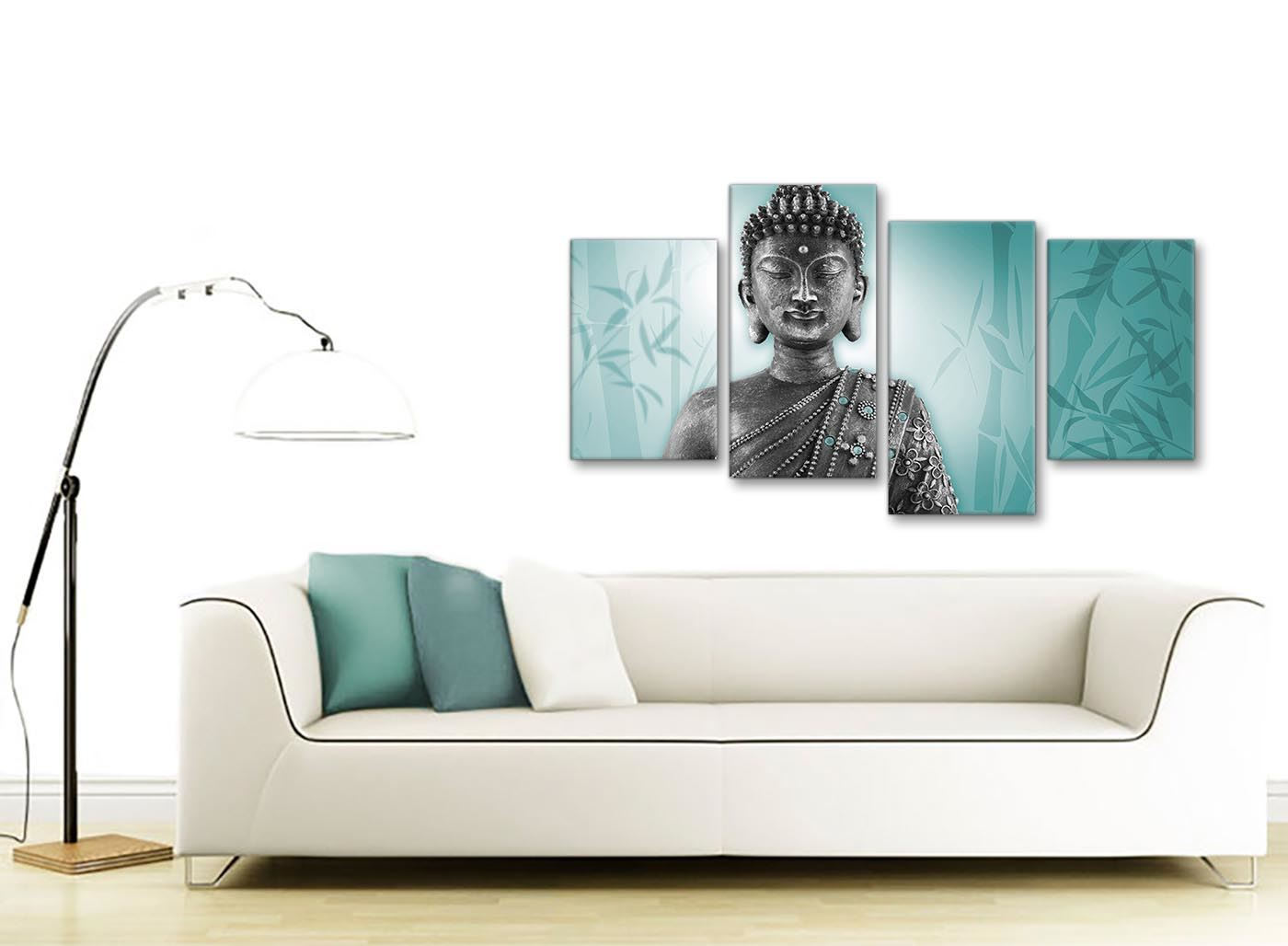 4327 Large Teal and Grey Silver Canvas Art Prints of Buddha Split 4 Piece