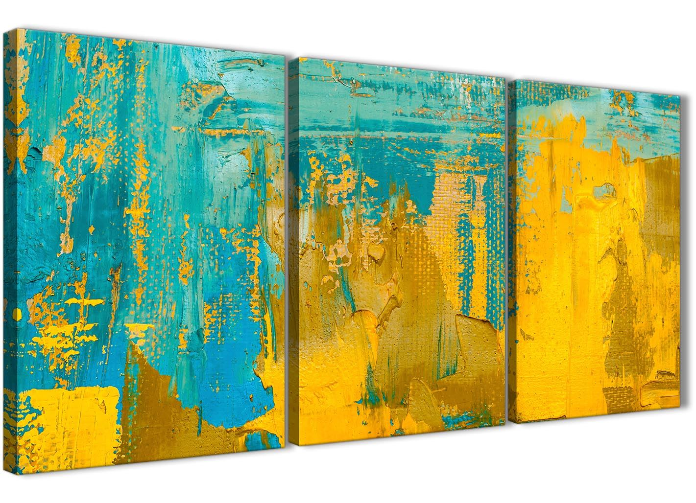 Mustard Yellow and Teal Turquoise - Abstract Dining Room Canvas Wall ...