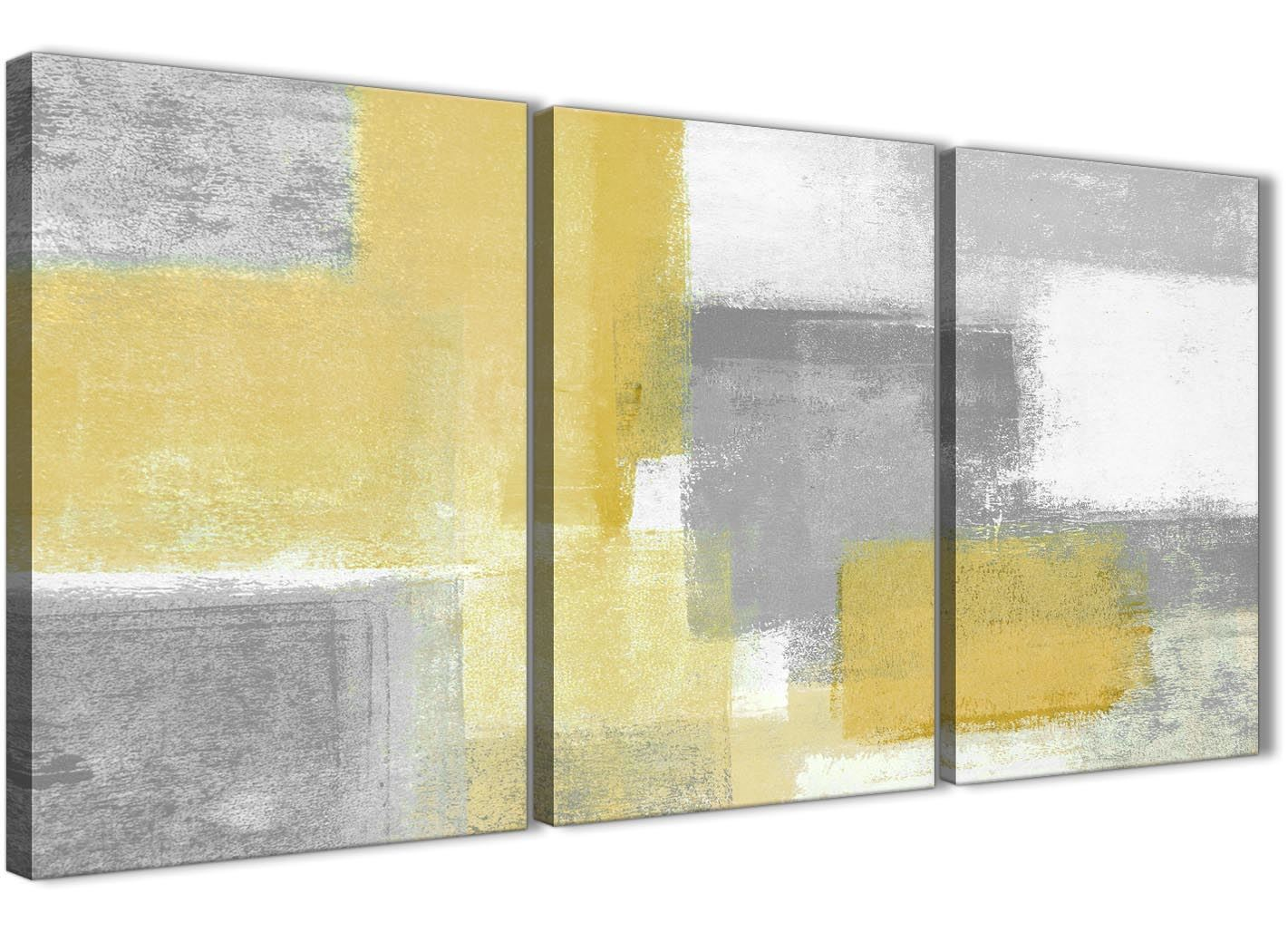 3 Part Mustard Yellow Grey Hallway Canvas Decor - Abstract 3367 ...
