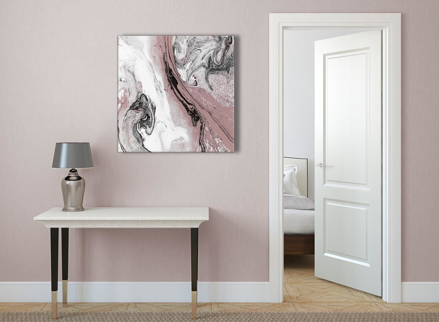 Blush Pink And Grey Living Room Canvas Wall Art Accessories Abstract Print Ebay