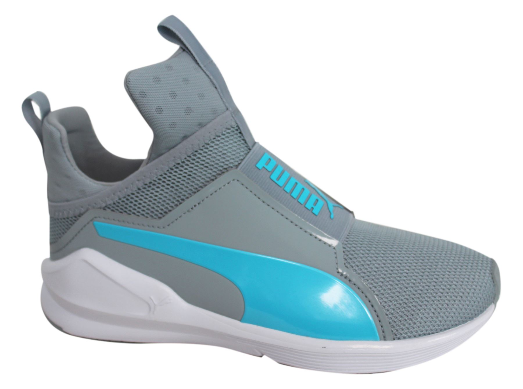 finest selection 9b860 5b7dd Details about Puma Fierce Core Slip On Grey Blue Womens Mesh Dance Trainers  188977 09 M13