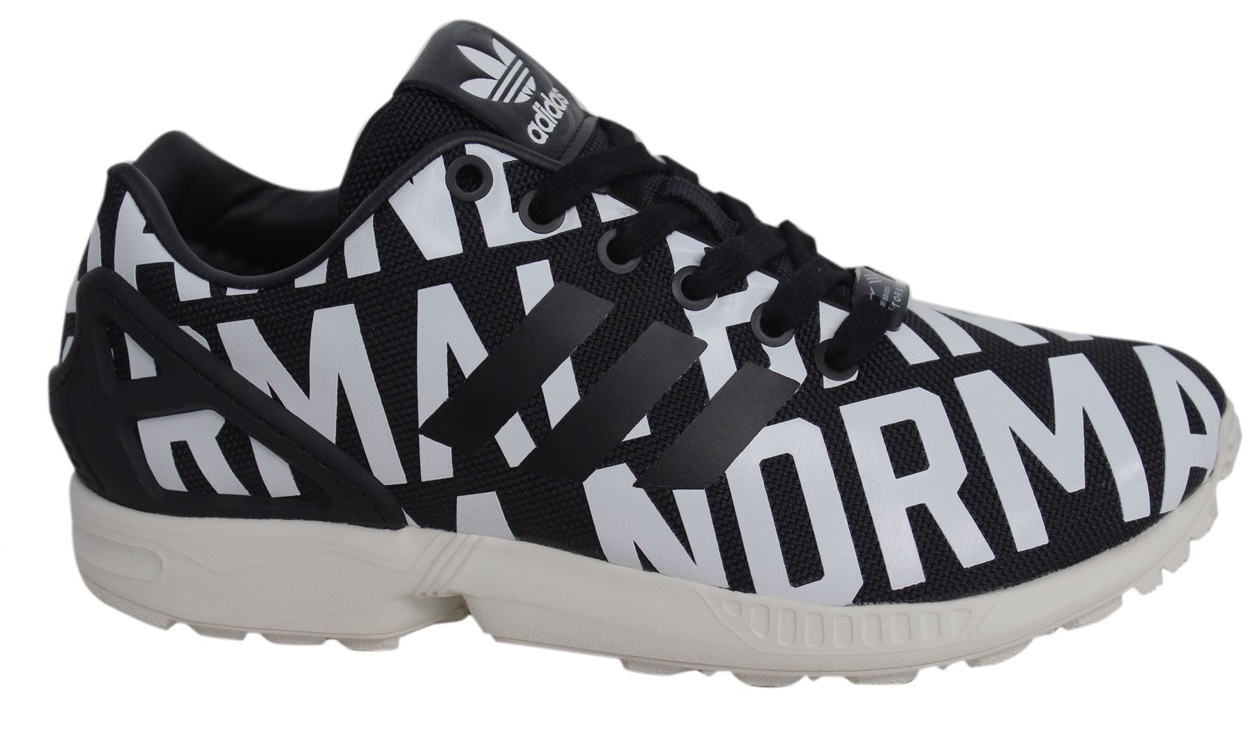 02e7c531d5efe Adidas Originals Rita Ora ZX Flux Lace Up Black White Womens Trainers  B72683 D28