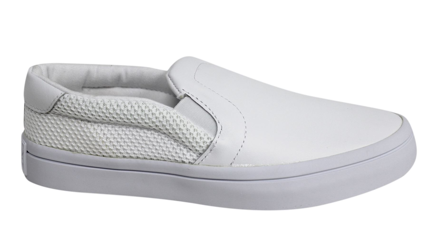 2fa45c5af6015 Adidas Originals Slip On White Leather Womens Trainers Plimsolls S79963 D76