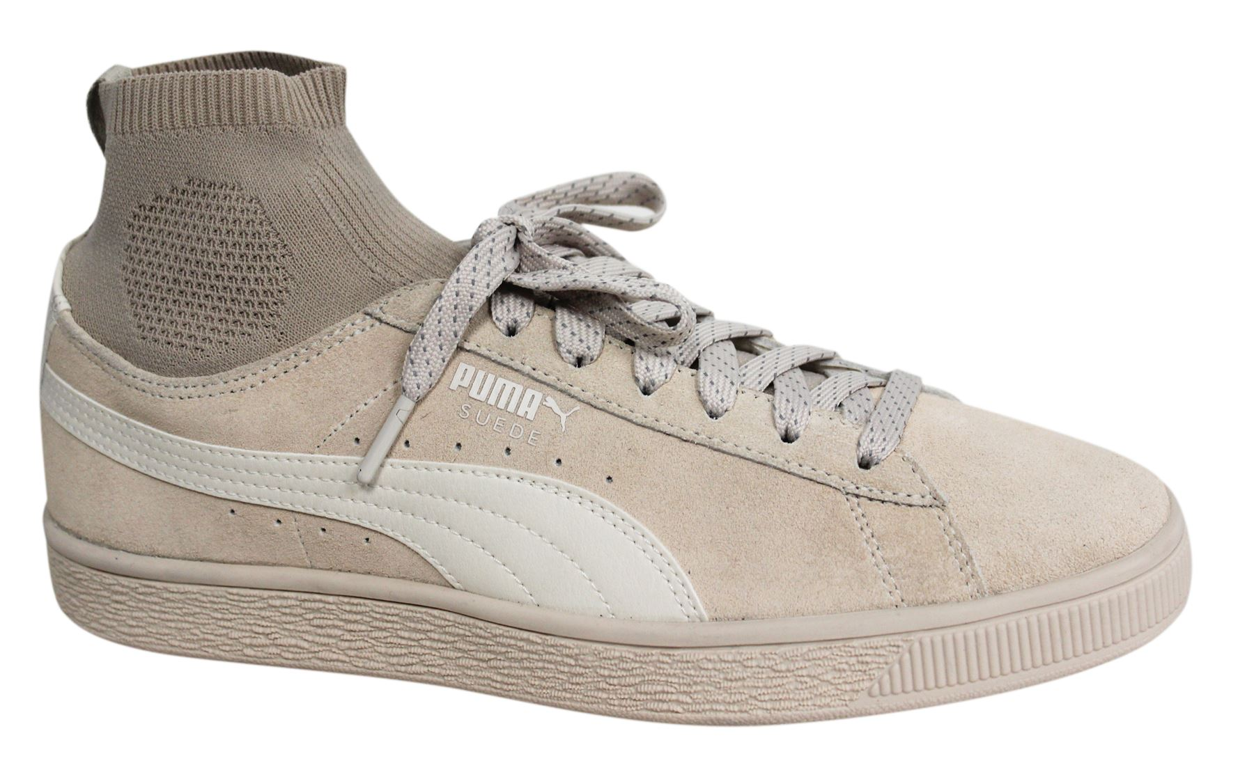 Details about Puma Suede Classic Sock Lace Up Beige Leather Mens Trainers 364074 02 B63C