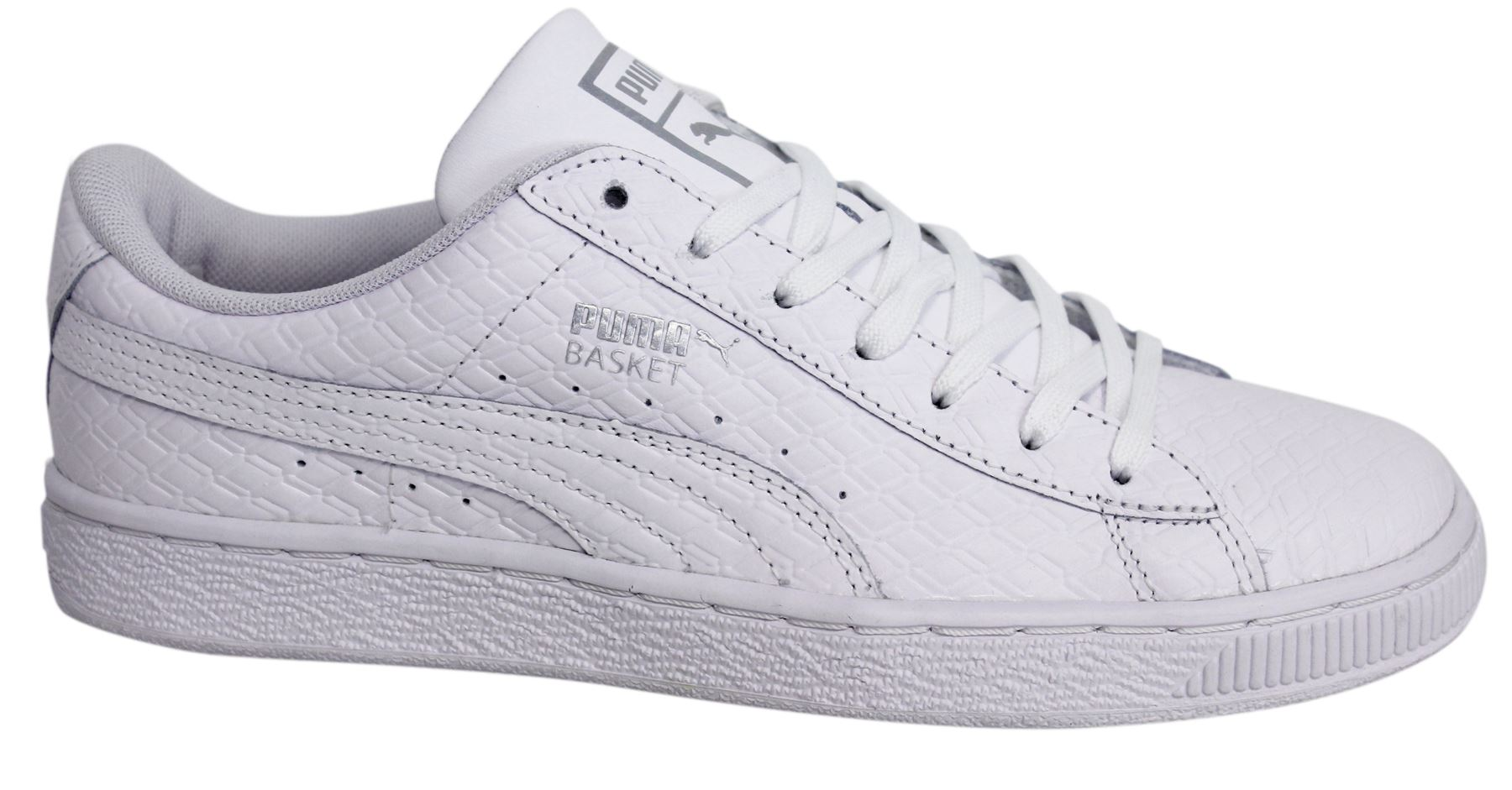 Puma Basket Classic B W Lace Up White Leather Mens Trainers 363075 01 D19 ce1149858