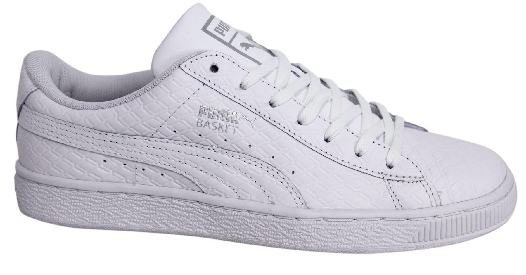 Puma Basket Classic B W Lace Up White Leather Mens Trainers 363075 01 D19 d0c5ef3f0