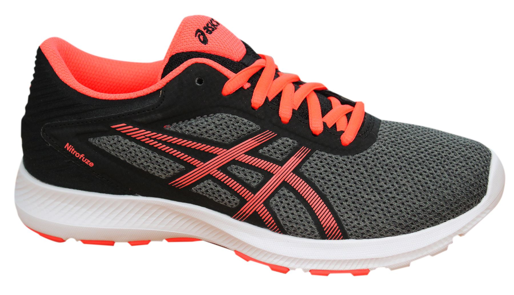 Details about Asics Nitrofuze Grey Black Lace Up Synthetic Womens Trainers T6H8N 9706 B11B