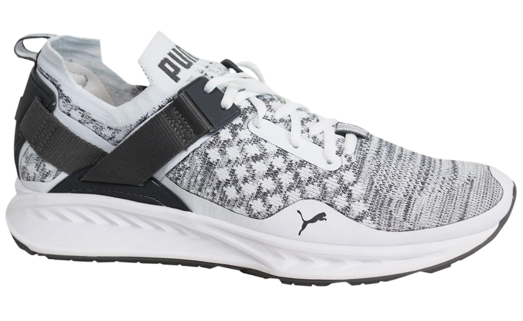 1cebf8fe10 Puma Ignite evoKNIT Lo Lace Up Mens White Grey Textile Trainers ...