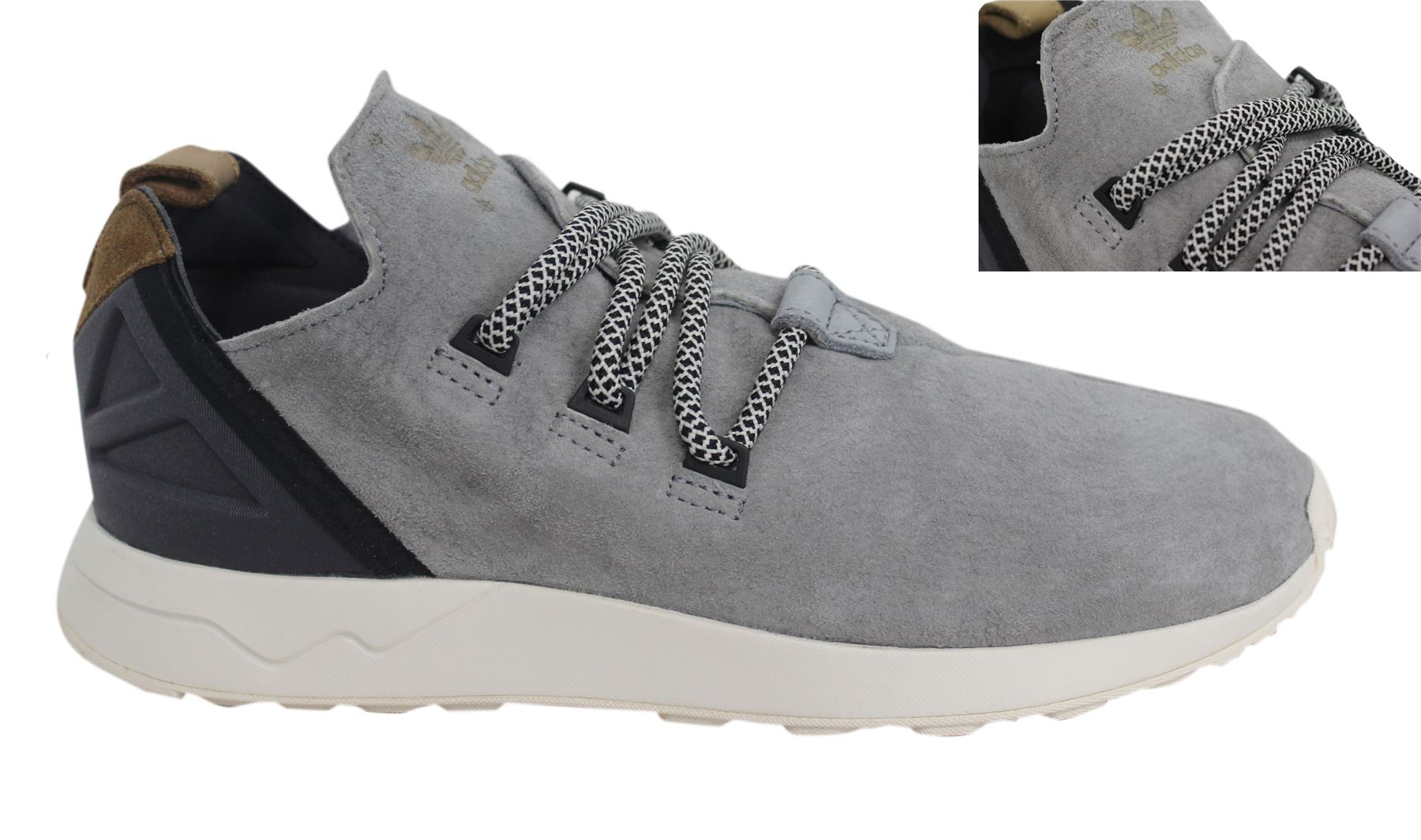 more photos 6fa6c e33f6 Details about Adidas Originals ZX Flux Adv X Lace Up Grey Leather Mens  Trainers S76364 D44