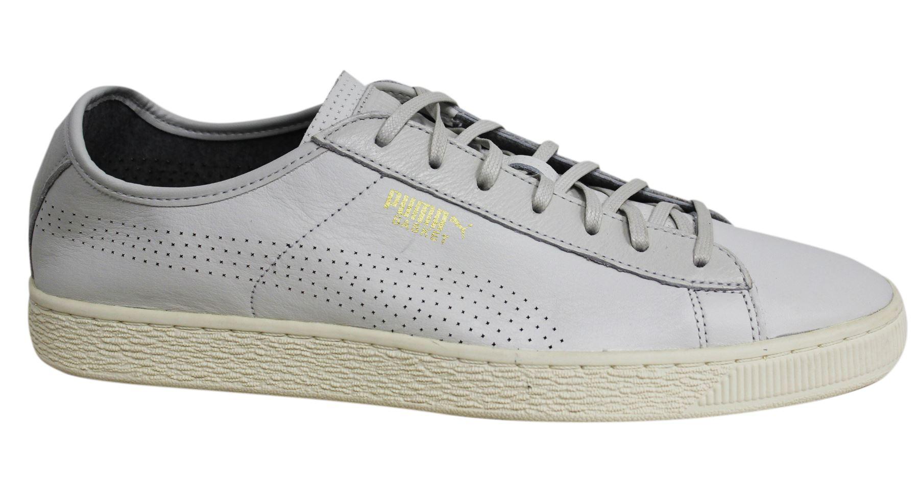 33a70b91d78d Puma Basket Classic Soft Off White Leather Lace Up Mens Trainers 363824 04  D50