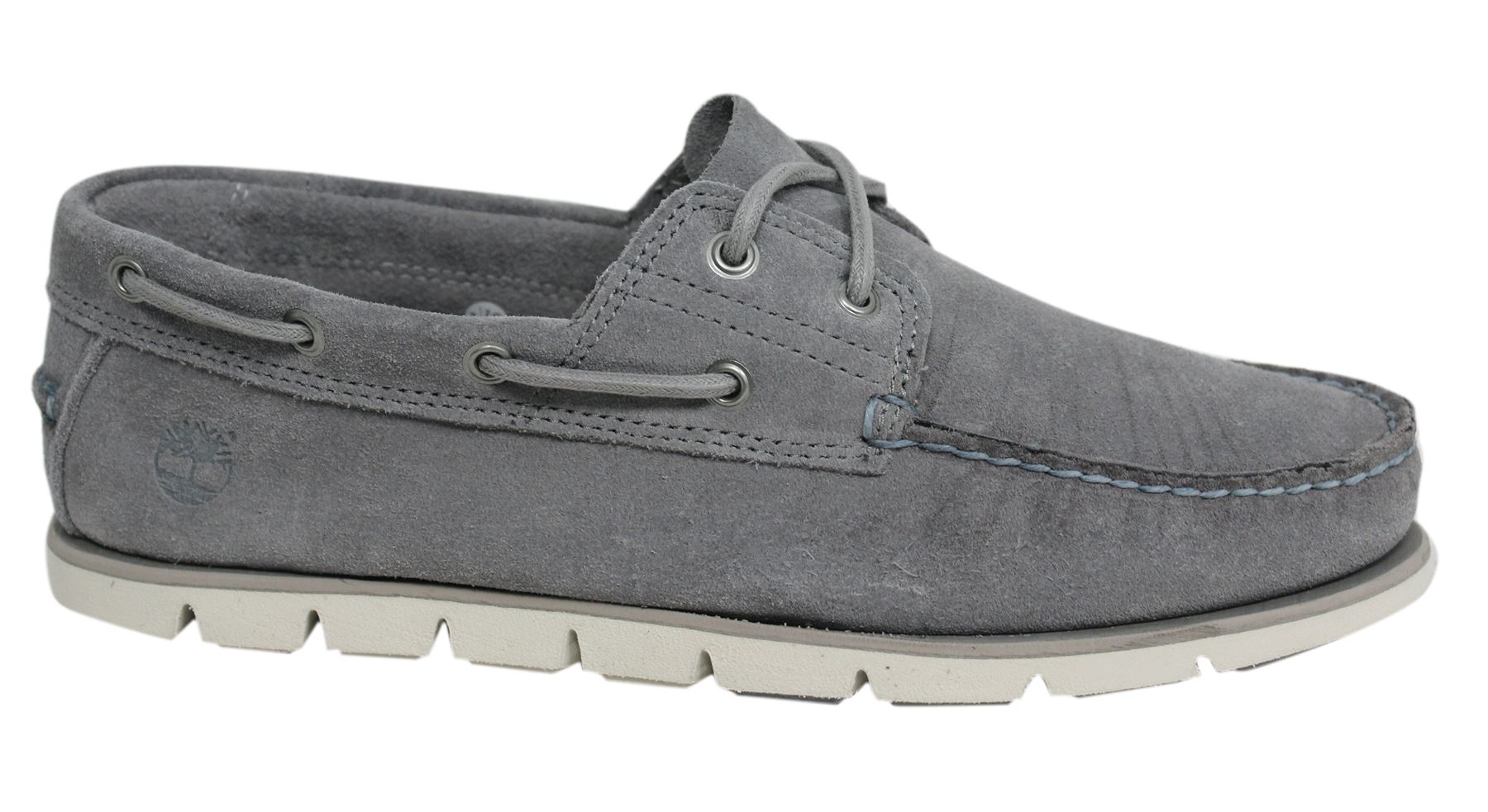 fd3a585ebed48 Timberland 2 Eye Classic Lace Up Grey Suede Leather Mens Boat Shoes A1HBD  D72
