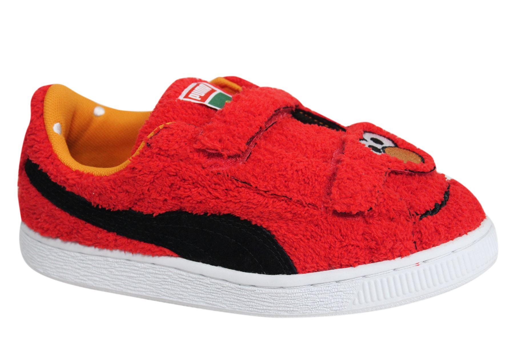 Details zu Puma Basket Sesame Street Elmo Statement Kids Trainers 362100 01 B2E