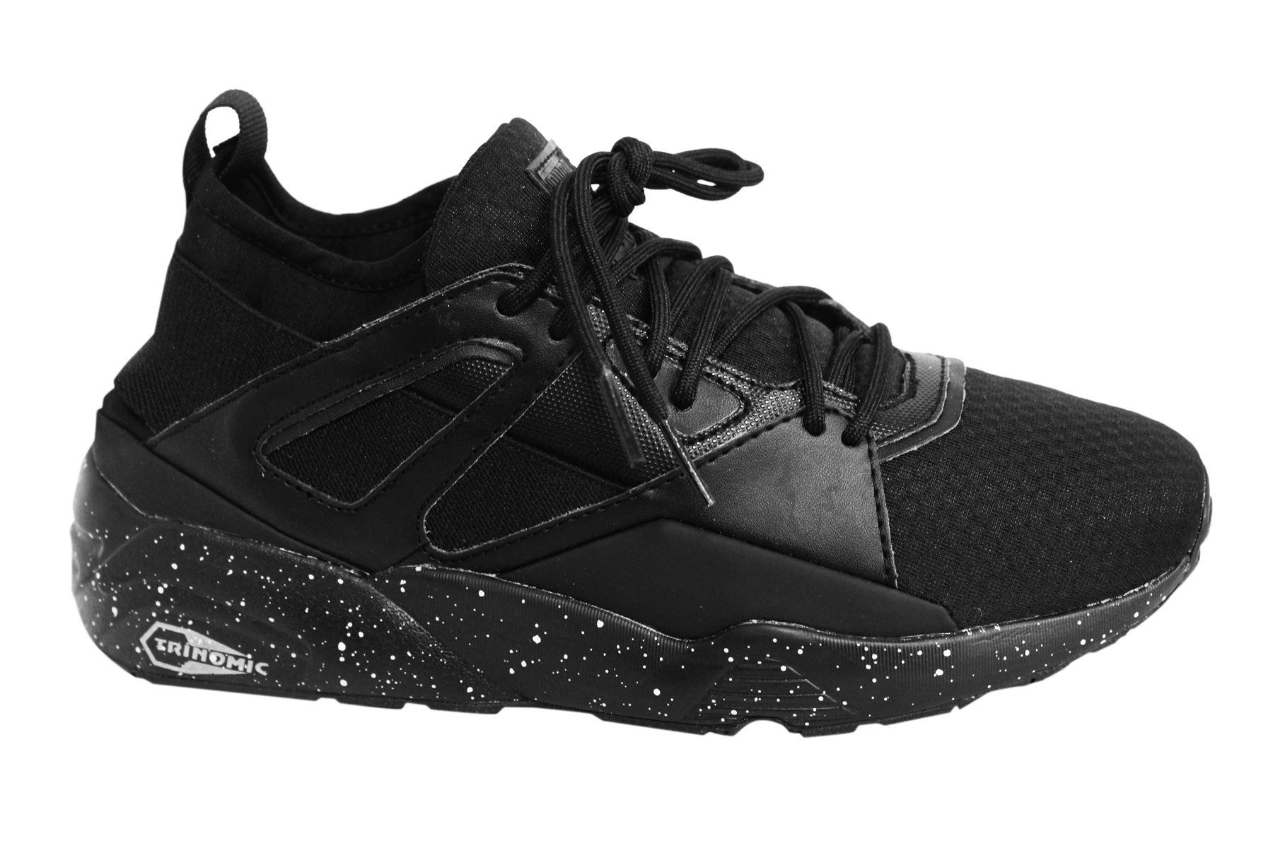 a78978360894 Puma Blaze of Glory Lace Up Black Textile Junior Trainers 363383 01 U107
