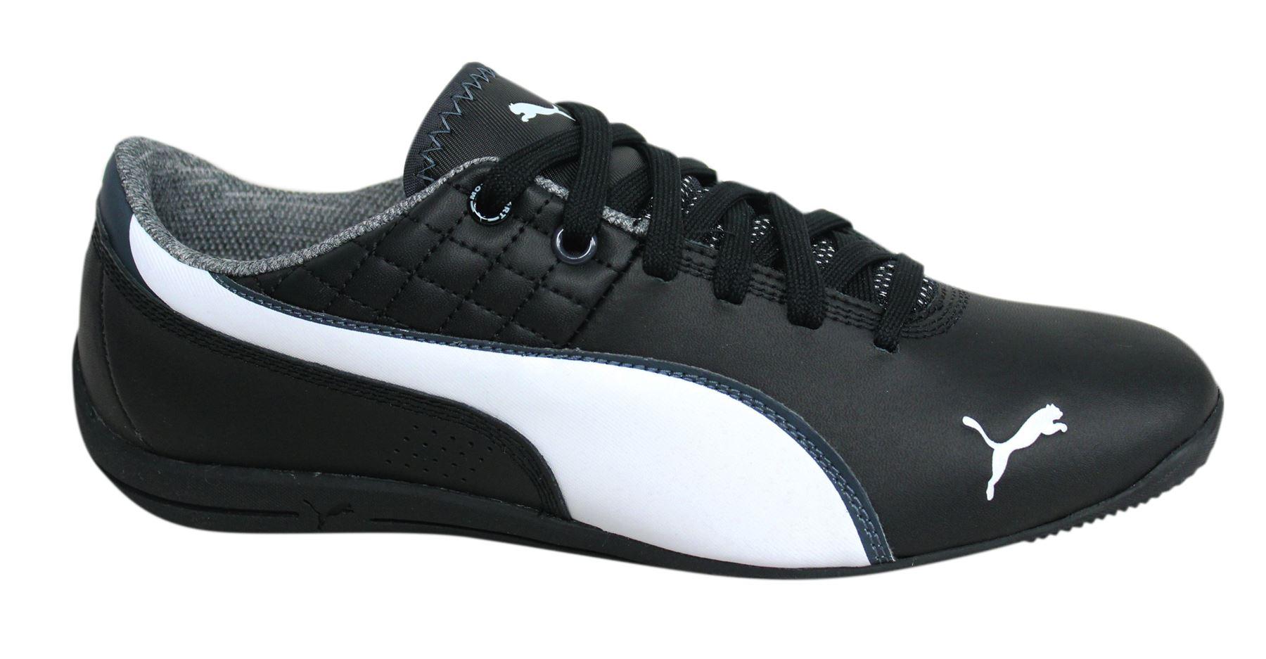 Puma Drift Cat NM Lace Up Black Leather Mens Trainers 305523 01 U86