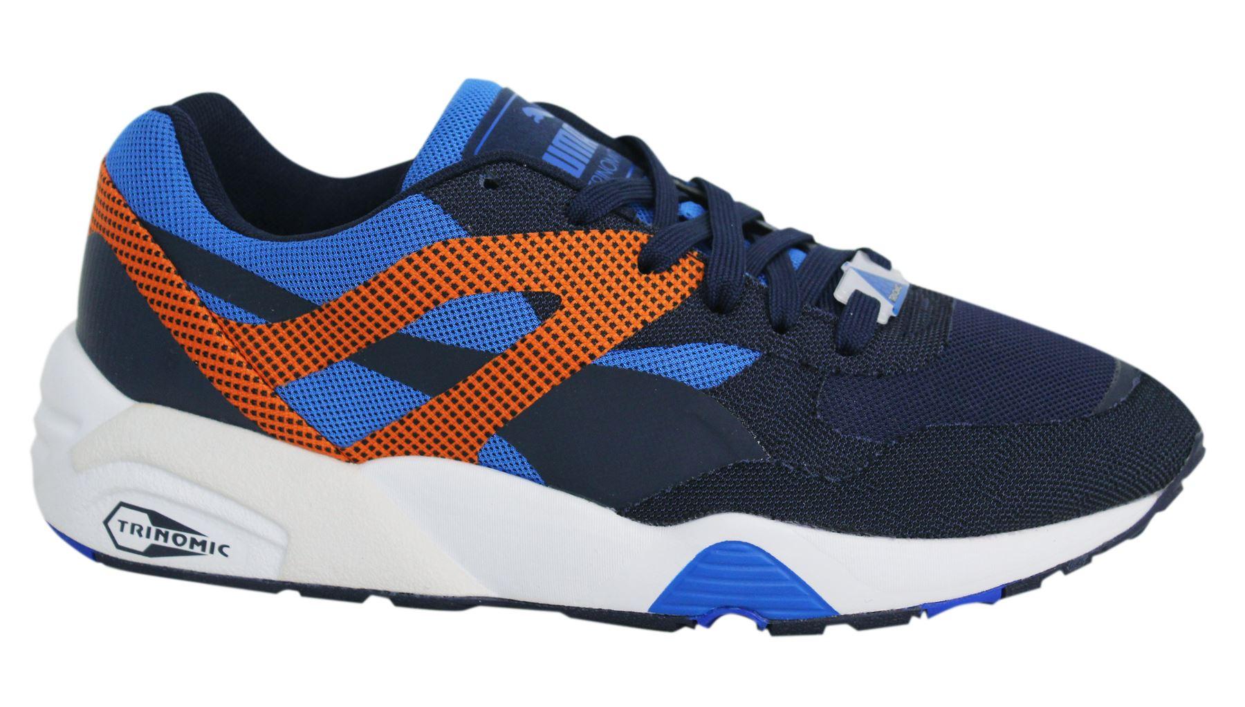 Puma R698 Progressive Lace Up Navy Orange Mens Trainers 362046 03 ... 207464e86f