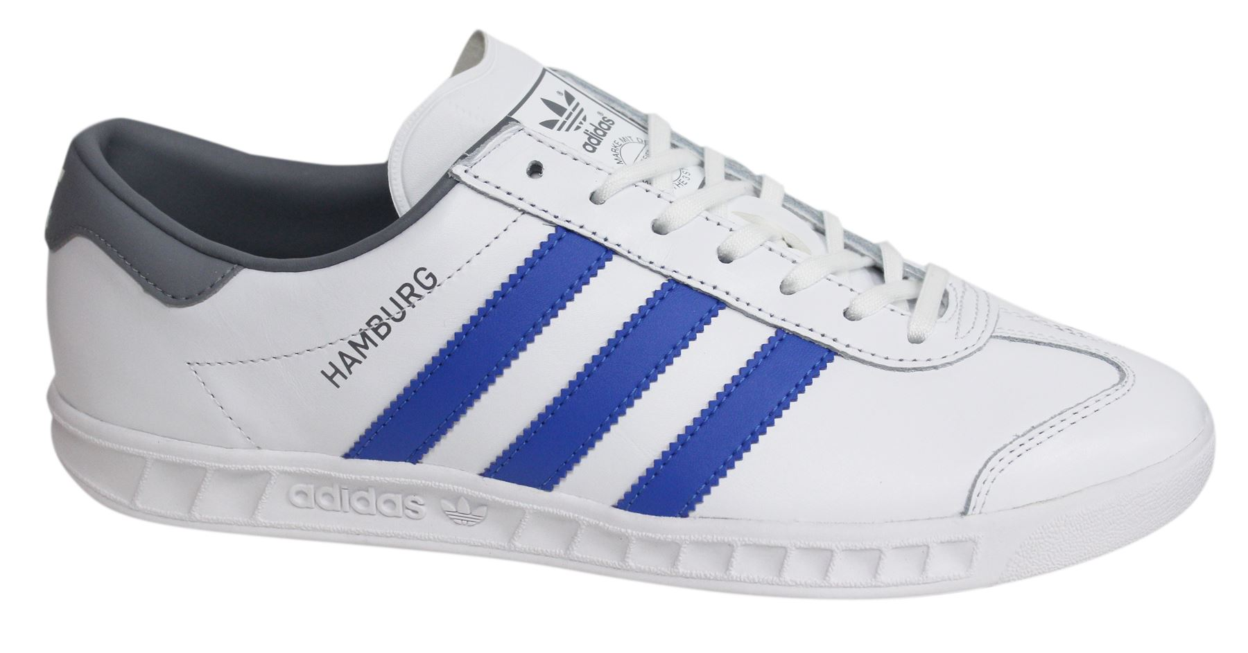 Mens ADIDAS HAMBURG White Leather Trainers BB2779  eBay
