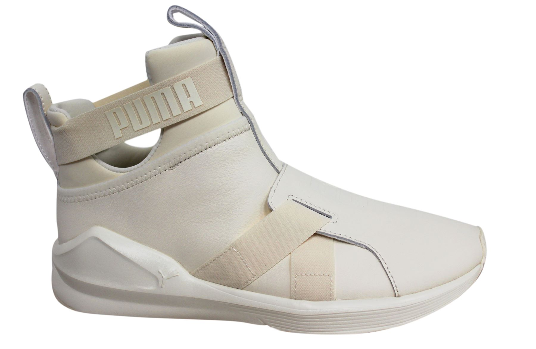 reputable site a5cac 9cbb8 Details about Puma Fierce Strap Leather Textile Whisper White Womens  Trainers 190569 02 M15