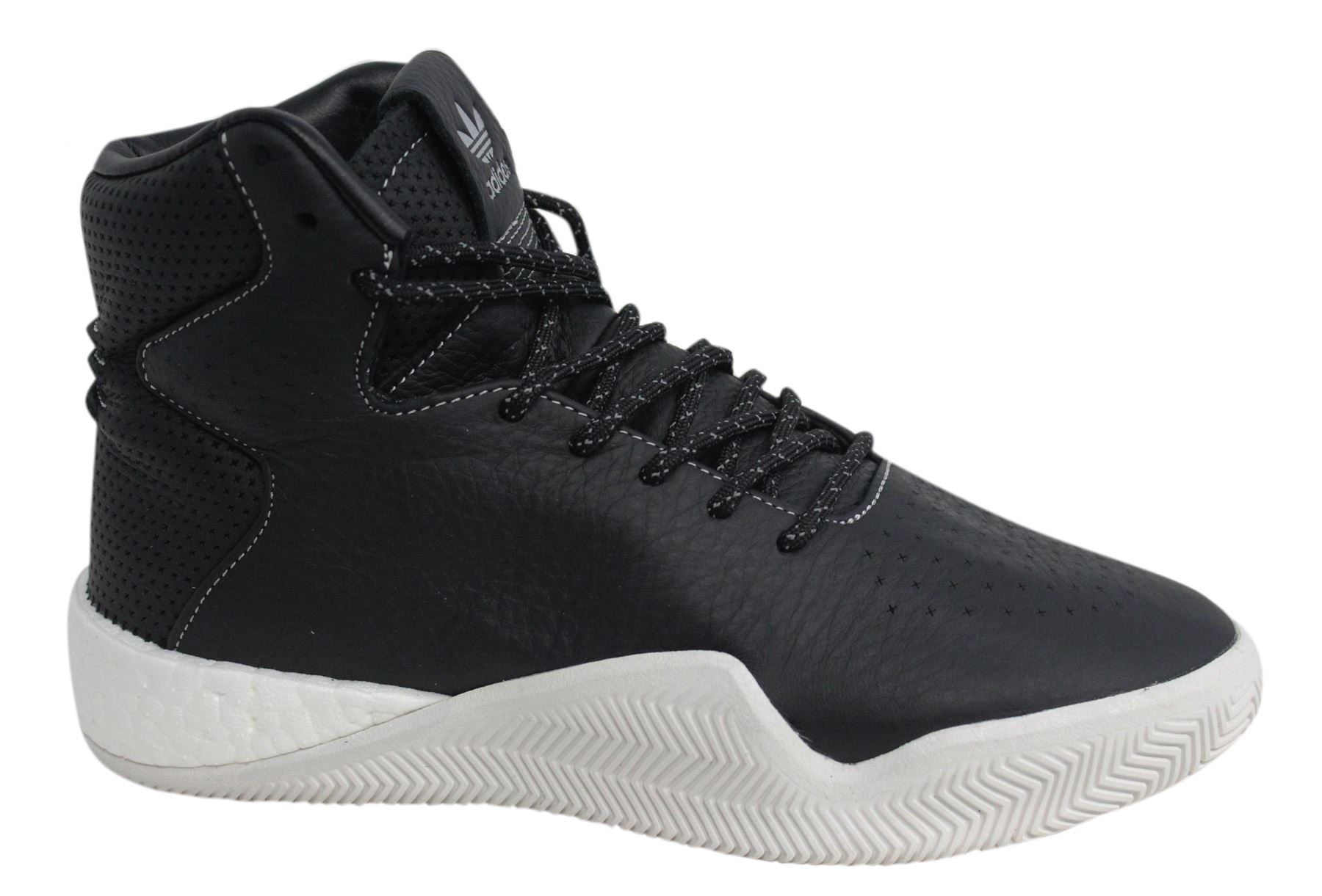 buy popular c8362 1fed8 Adidas Tubular Instinct Boost Lace Up Hi Black Leather Mens Trainers BB8401  M16