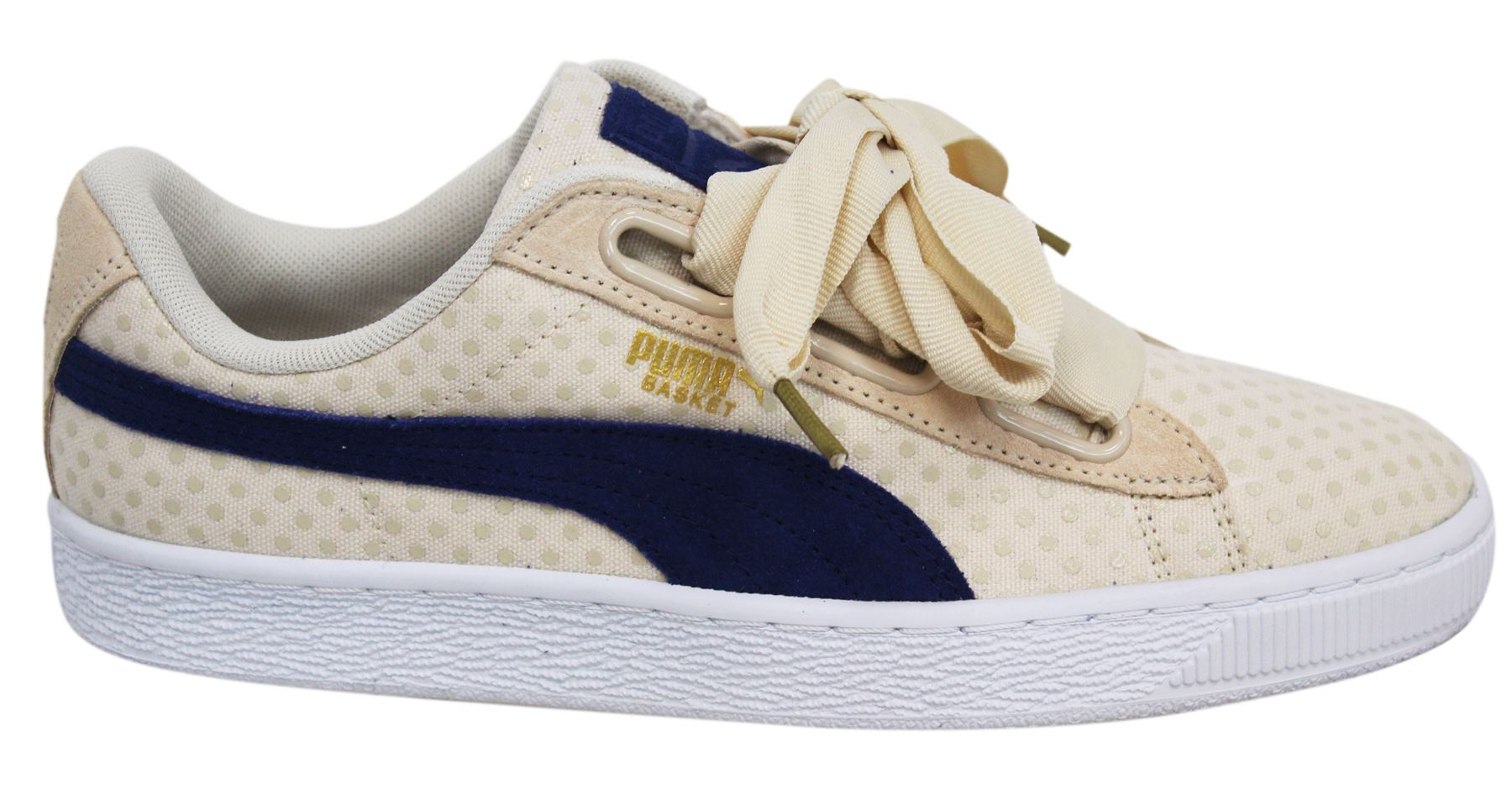 half off 214b8 9f9f4 Details about Puma Basket Heart Denim Lace Up Beige Womens Trainers 363371  03 M8