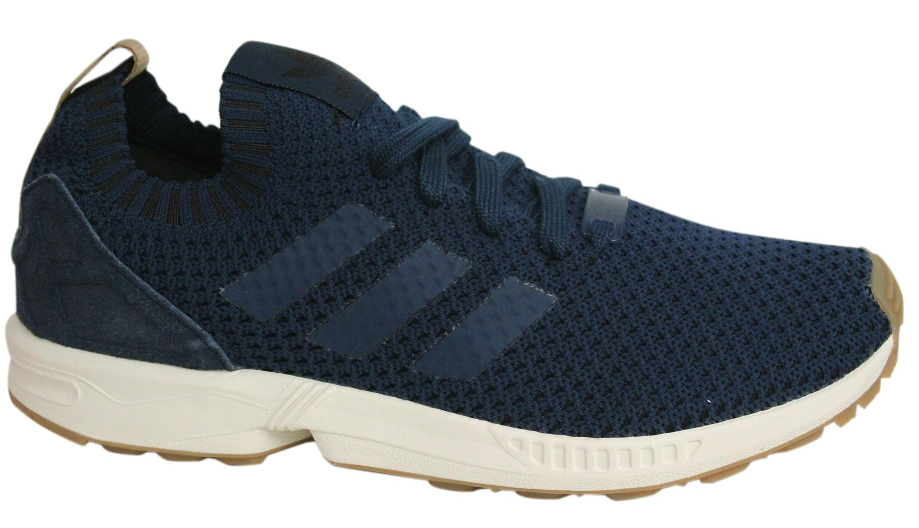 8750e8a21 Adidas ZX Flux PK Lace Up Navy Blue Knitted Textile Mens Trainers BA7372 U14