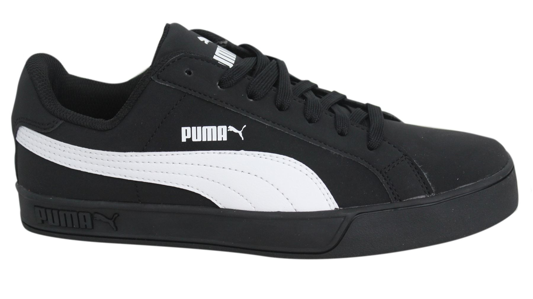 3beae01e87a Puma Smash Vulc Black White Synthetic Lace Up Mens Trainers 359622 14 D71