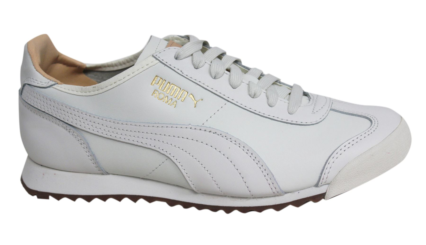 63fe10a013cd8a Puma Roma OG Natural Star White Lace Up Leather Mens Trainers 363184 01 U31