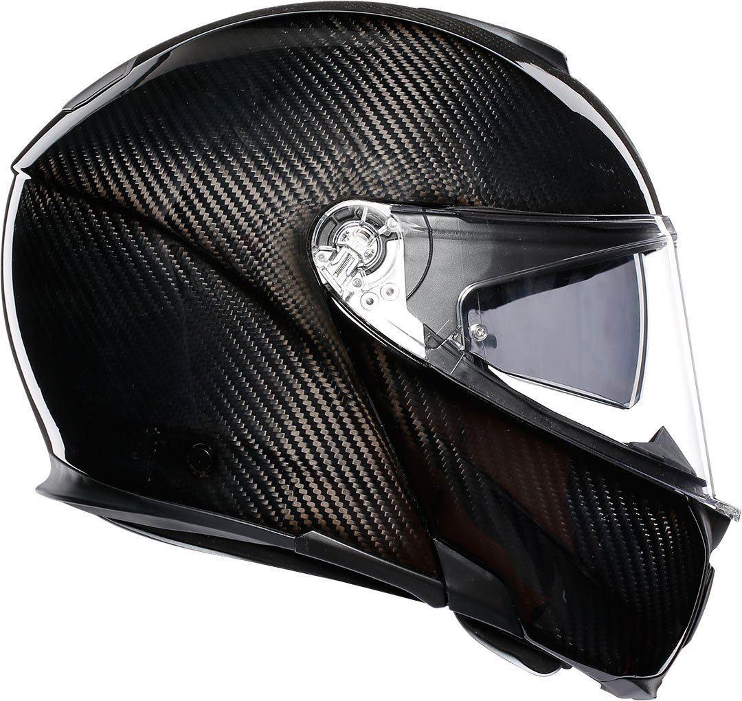 AGV-Sports-Modular-Brillant-Noir-Carbone-Moto-Casque