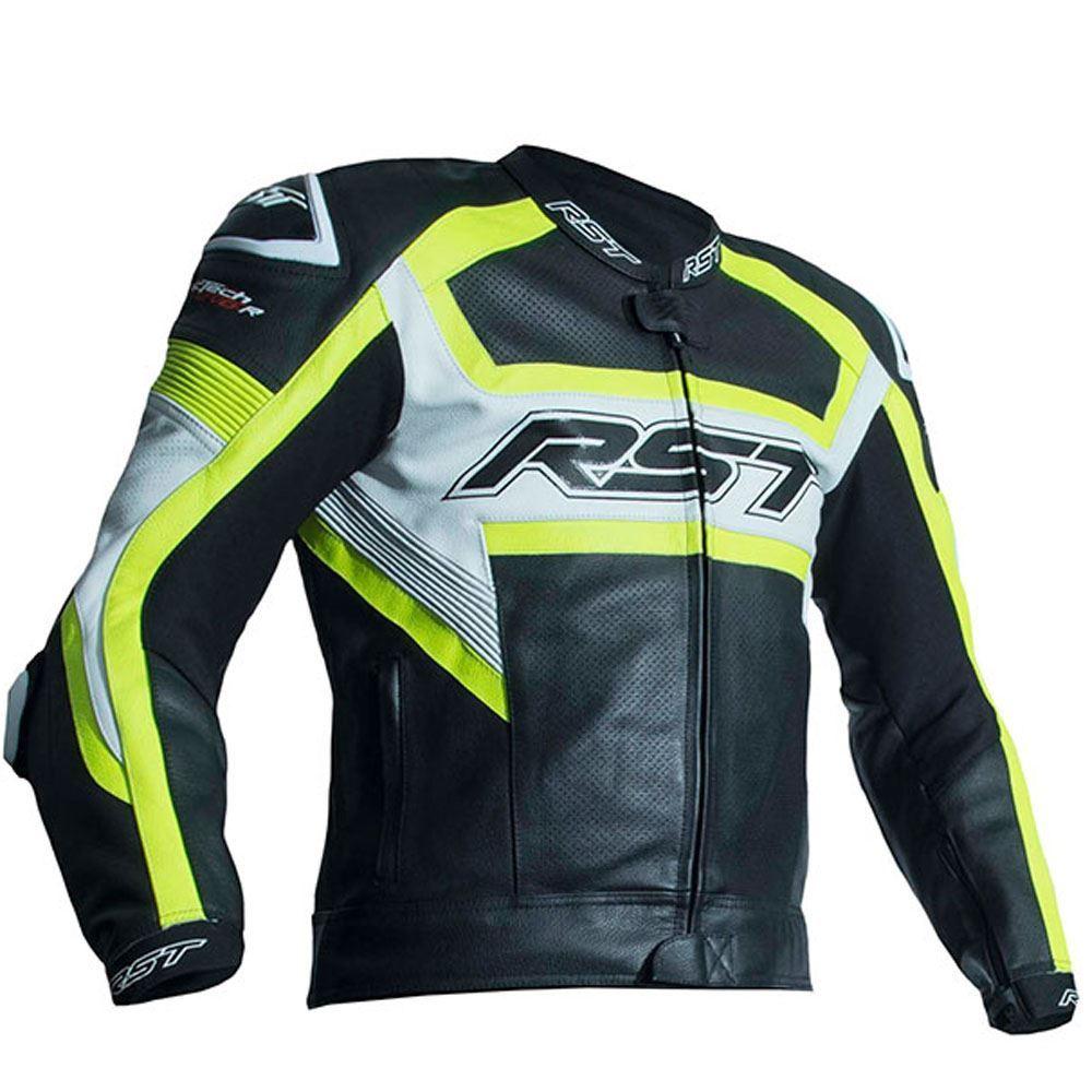 RST-2049-Tractech-Evo-R-Ce-Motocicleta-Cuero-Chaqueta-Fluorescente-Amarillo miniatura 2