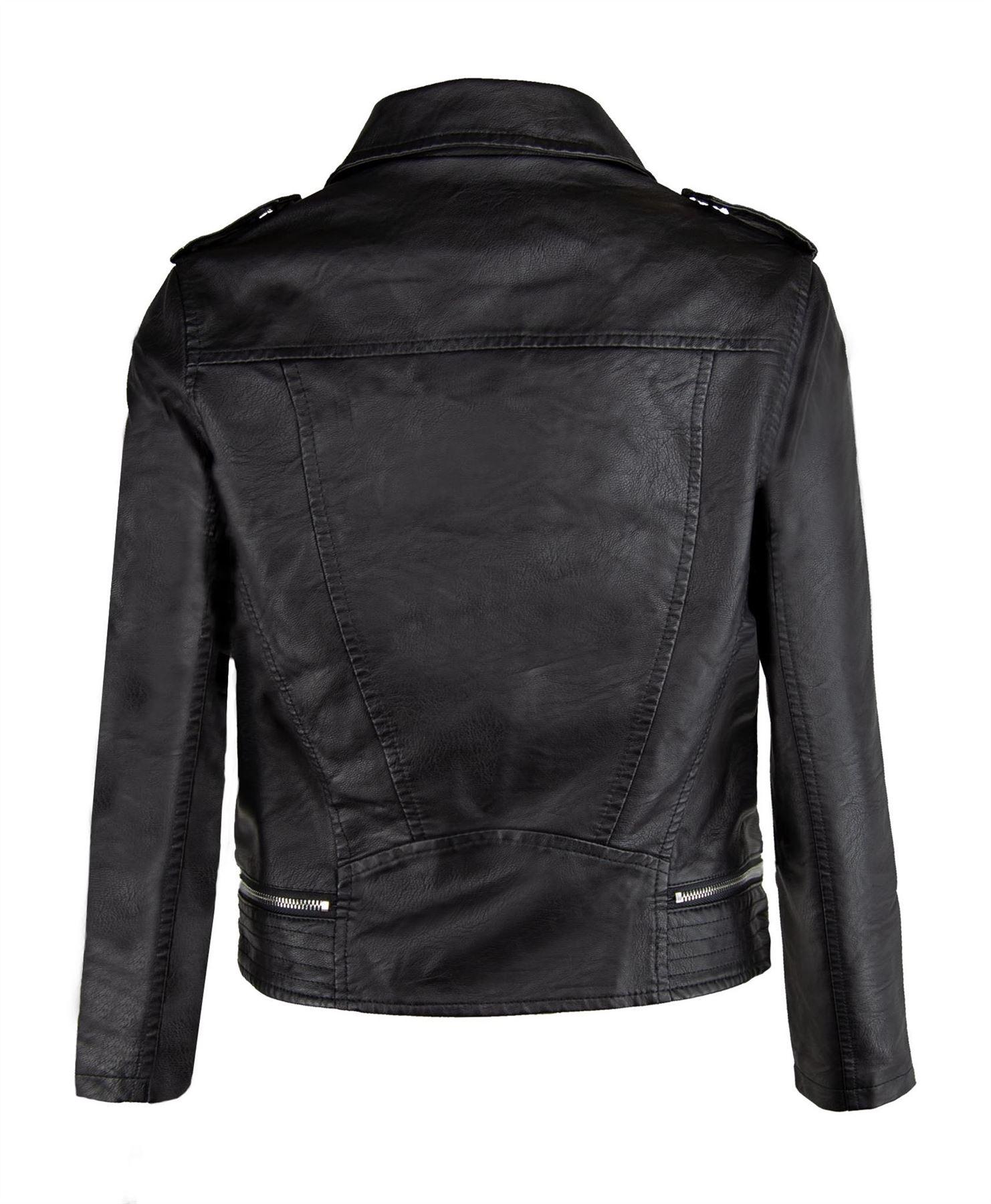 Da-Donna-Zip-Soffice-In-Finta-Pelle-Stile-Biker-Giacca-Cappotto-Donna-Con-Spalline-Crop-Taglie-S-XL