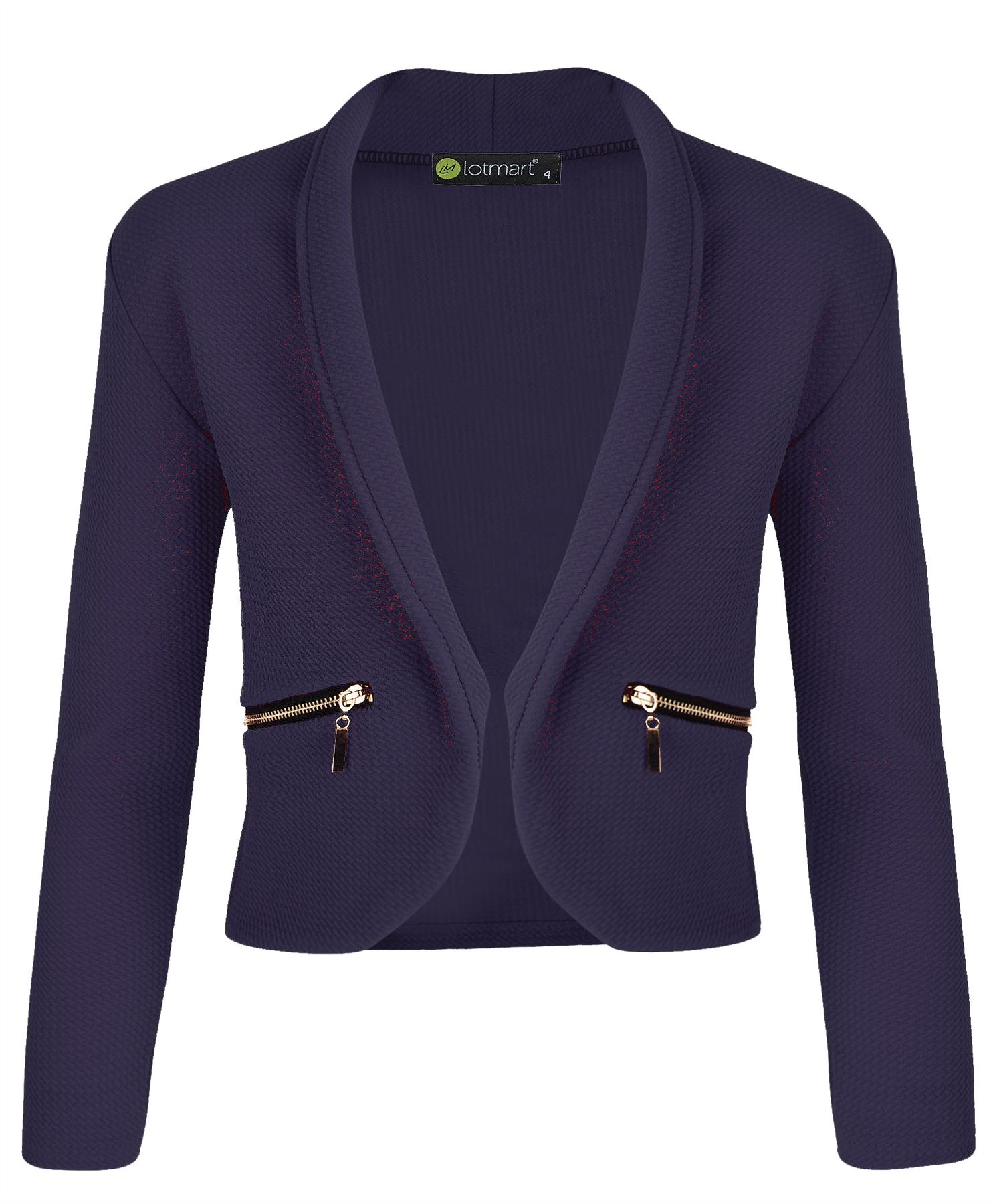Girls-Long-Sleeve-Open-Front-Blazer-Zip-Pocket-Jacket-Kids-Cardigan-Top-3-14-Y thumbnail 9