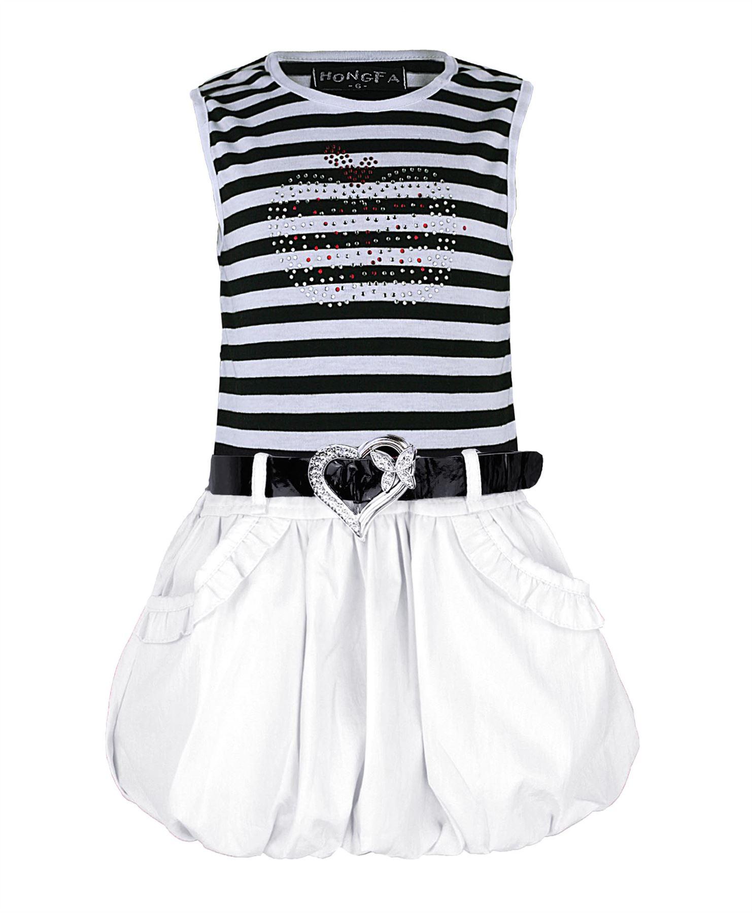 per-Ragazze-senza-maniche-abito-con-Cintura-Strass-Mela-Design-amp-Giacca-gonfio