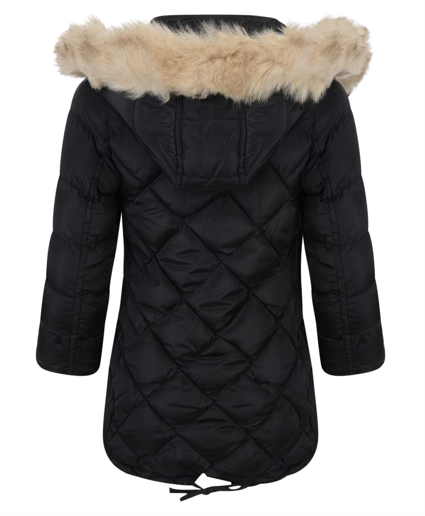 girls long down quilted winter parka jacket kids detach hood zip coat 3 14 years ebay. Black Bedroom Furniture Sets. Home Design Ideas