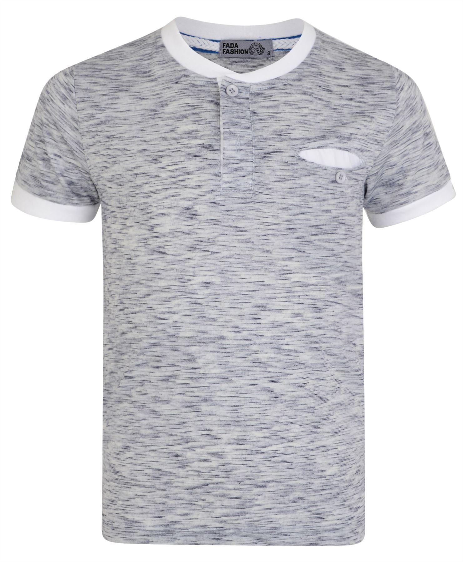 T shirt white colour - Boys Placket Top Henley Shirt White Colour Combi
