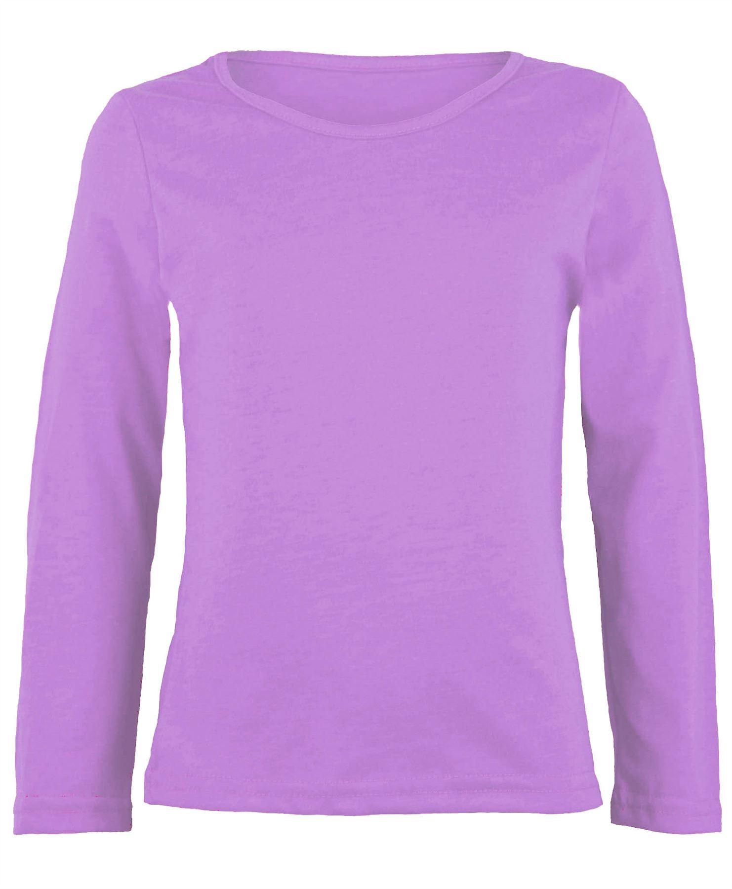 Kids cotton long sleeve plain basic top girls t shirt crew for Long sleeve cotton tee shirts