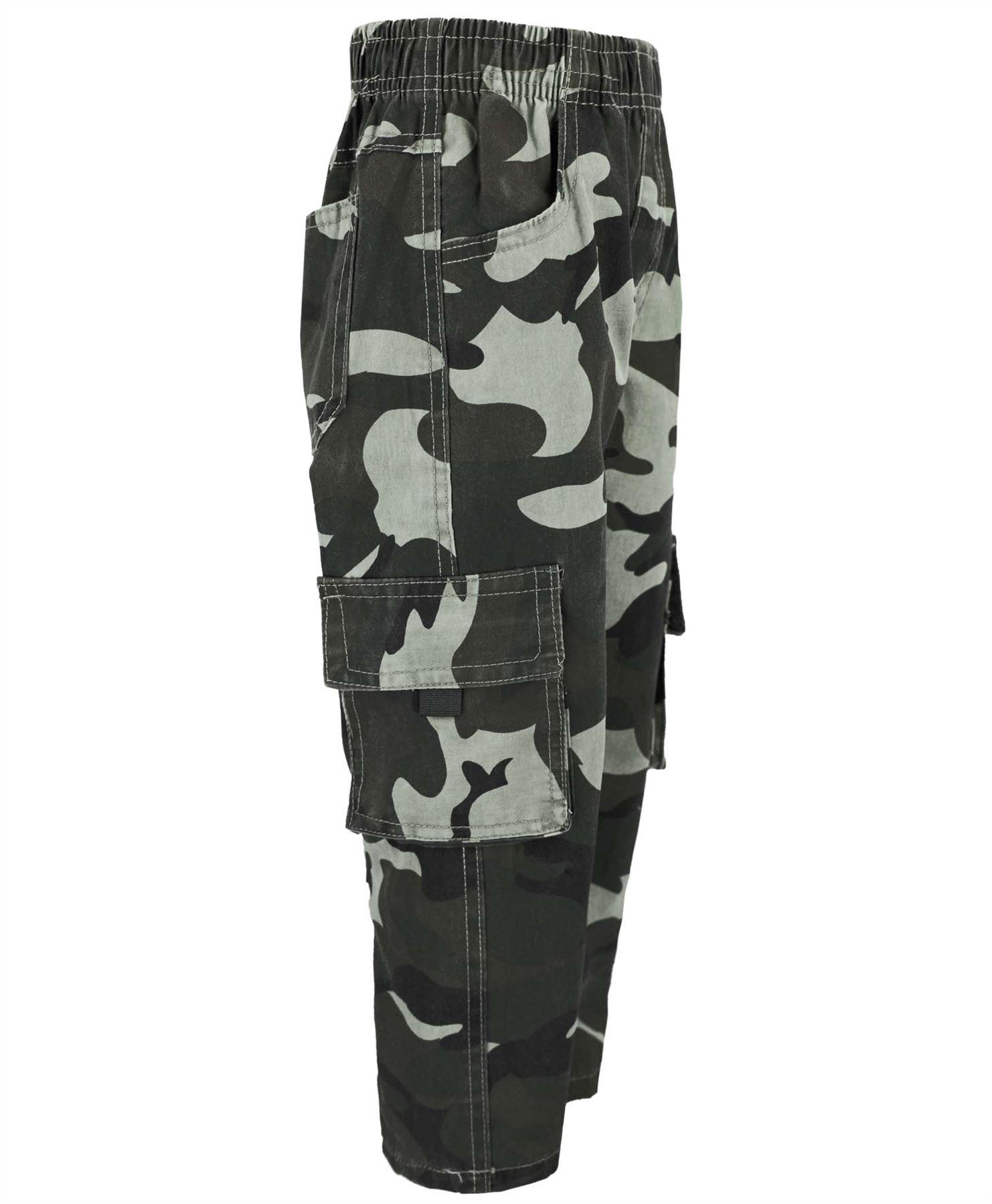 Kids-multipocket-camouflage-pantalon-garcons-armee-imprimer-cargo-combat-pantalon-4-14-ans miniature 3