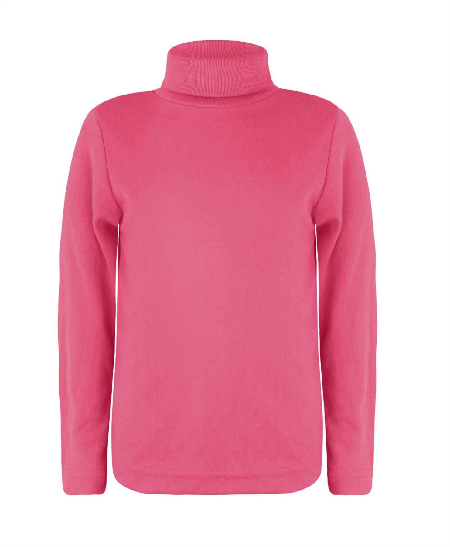 Girls Turtleneck Long Sleeve Plain Basic Top Kids Boys Jersey Polo Tops 2-14 Years