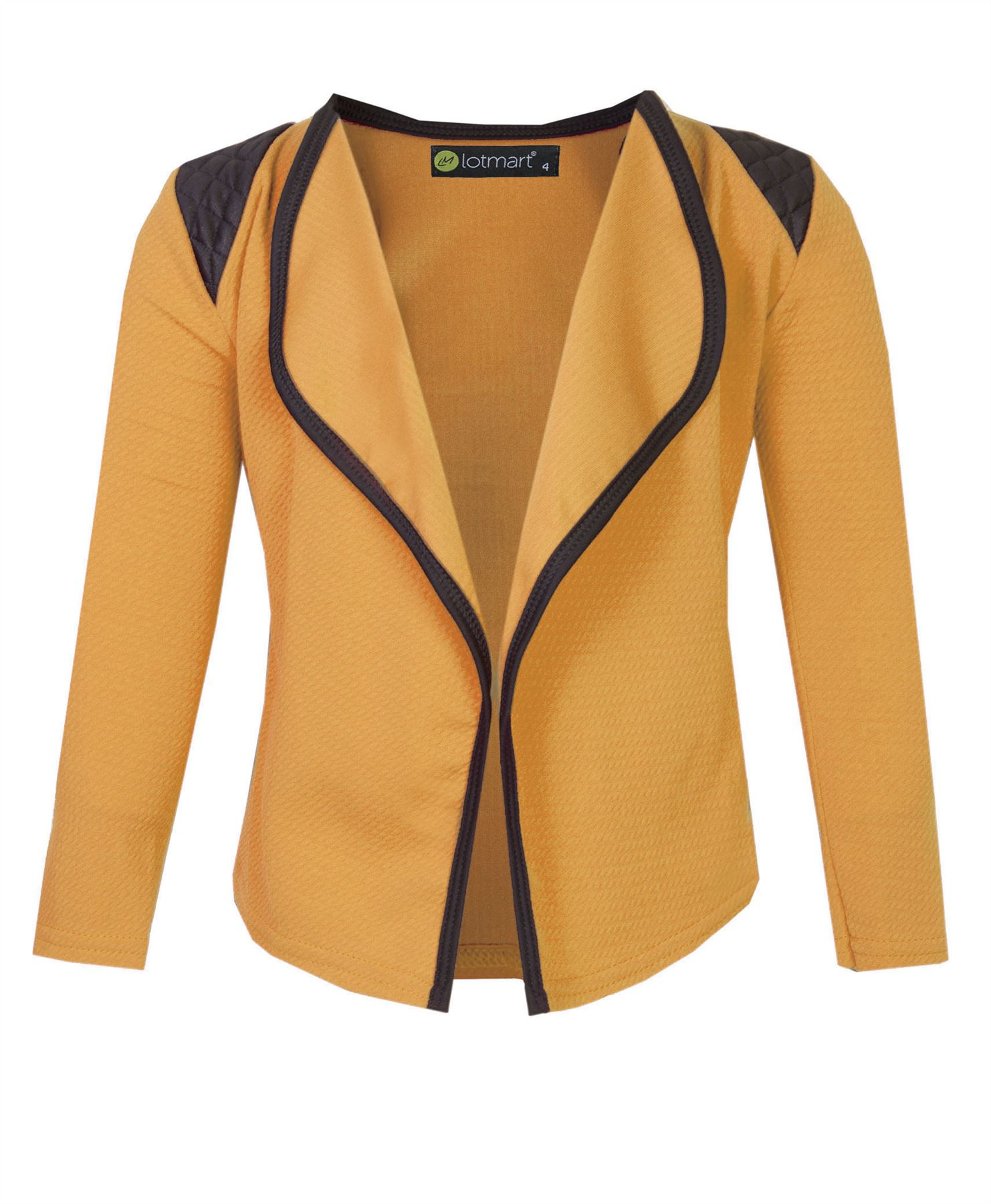 Girls-Open-Front-Jacket-Kids-Long-Sleeve-Quilted-Shoulder-Cardigan-Top-3-14-Y thumbnail 13