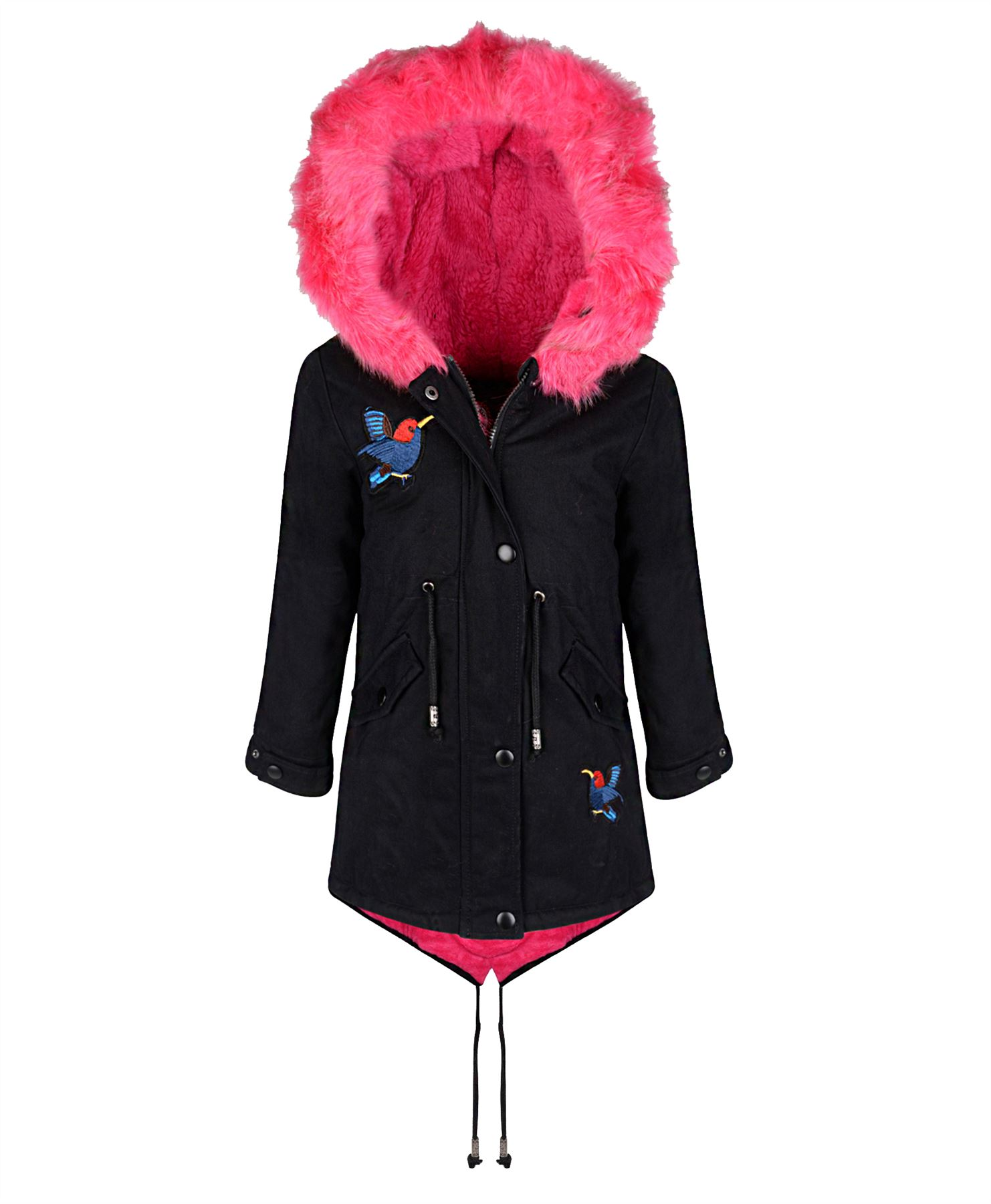 Girls-Winter-Parka-Coat-Kids-Hood-Padded-Jacket-Bird-Applique-Fur-Lining-7-16-Y