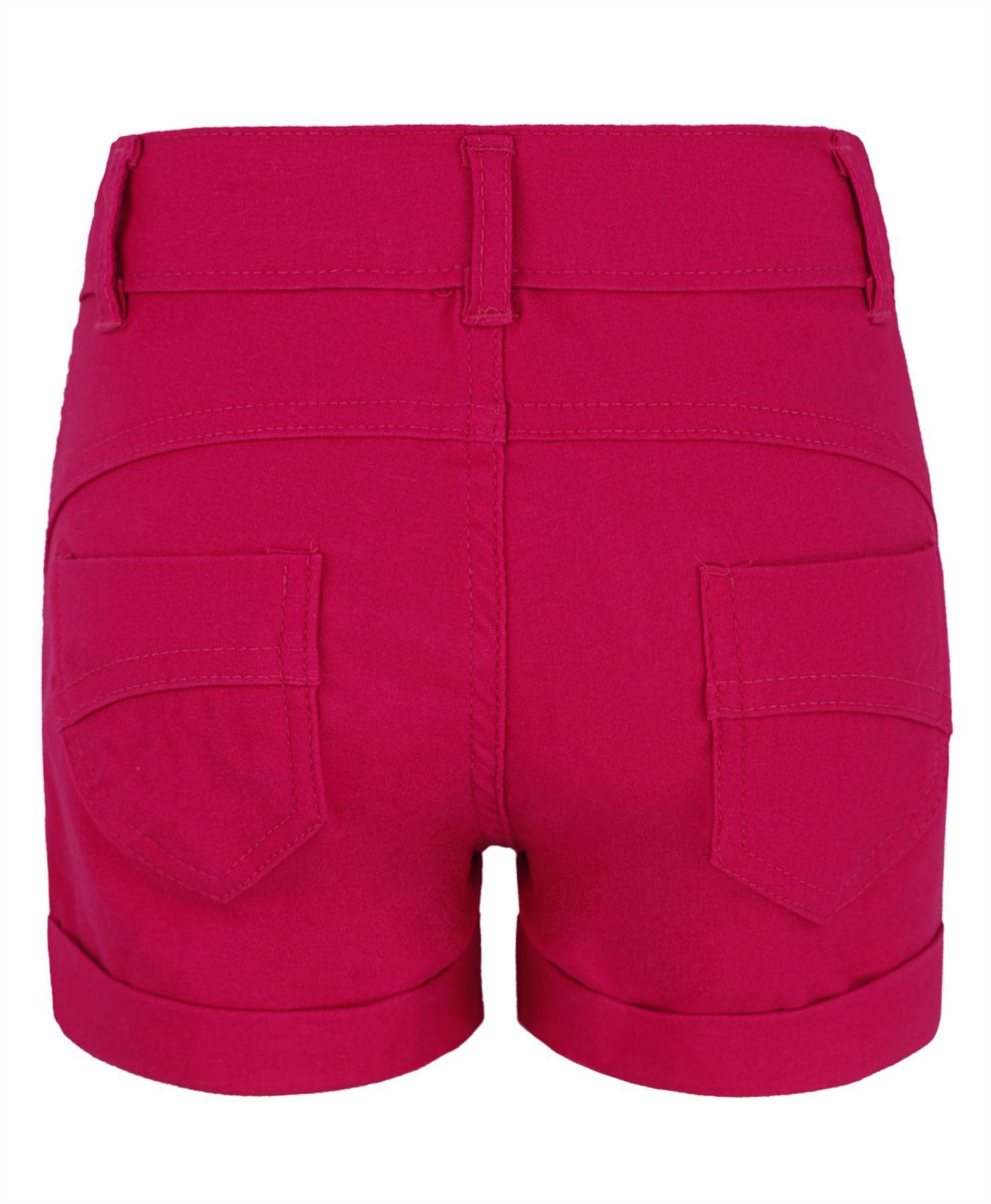 filles-shorty-extensible-couleur-ourlet-roule-Melange-de-COTON-MODE-TAILLE-1-1