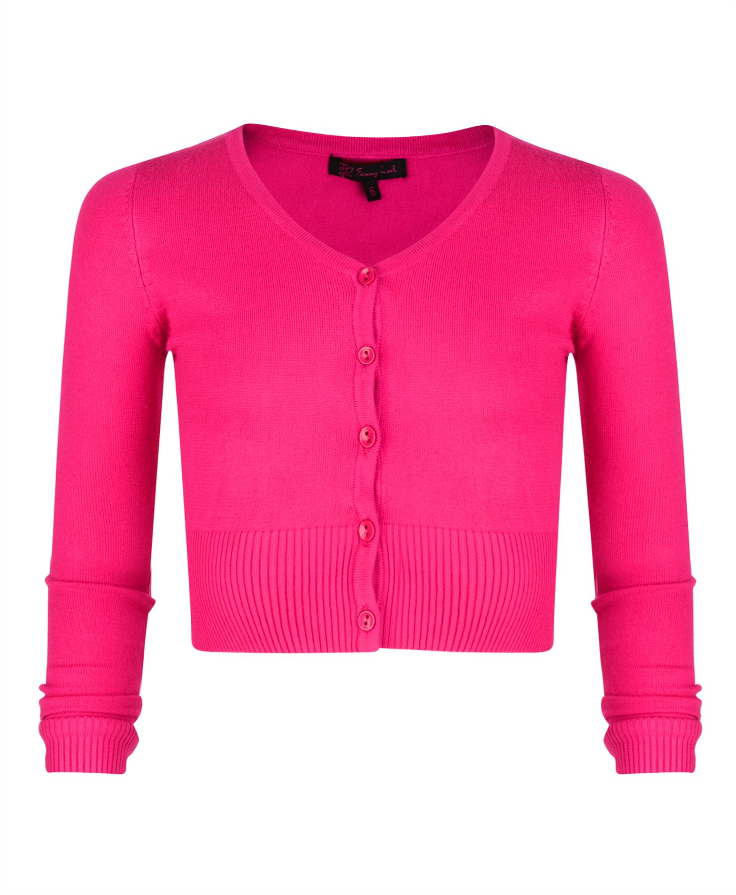 Girls Fine Knit Cropped V-neck Cardigan Kids Long Sleeve Sweater ...